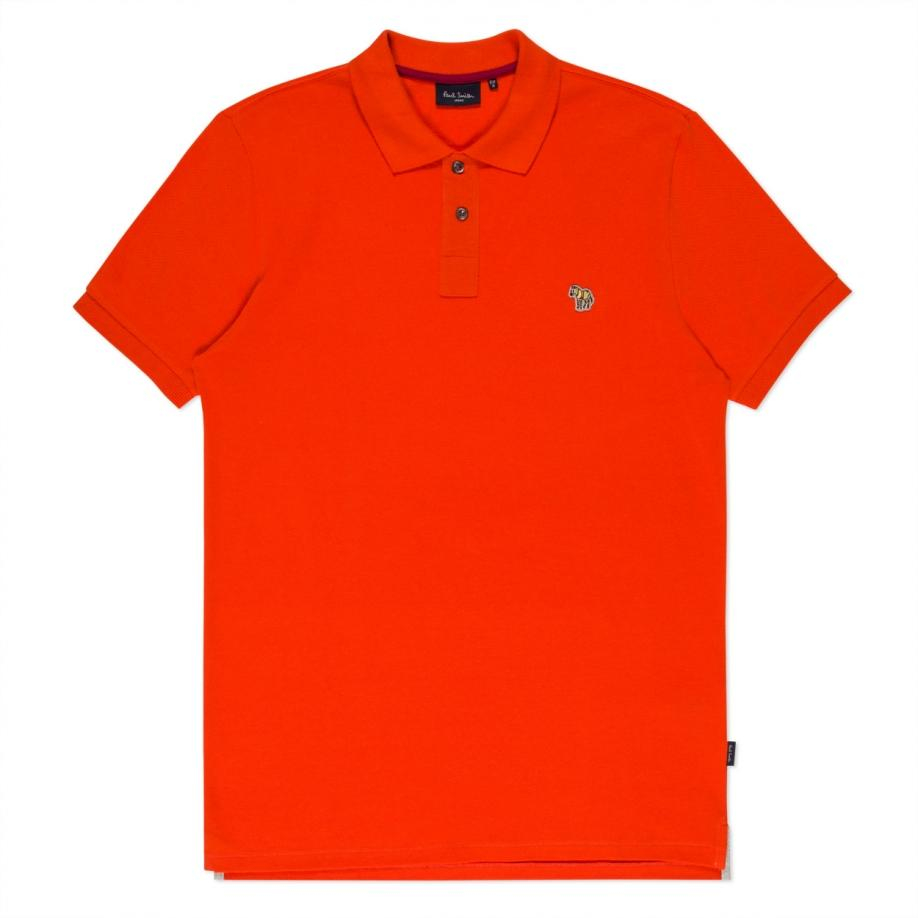 Paul smith men 39 s orange organic cotton zebra logo polo for Orange polo shirt mens