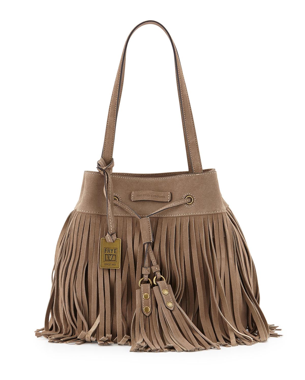 frye heidi fringed leather shoulder bag in lyst