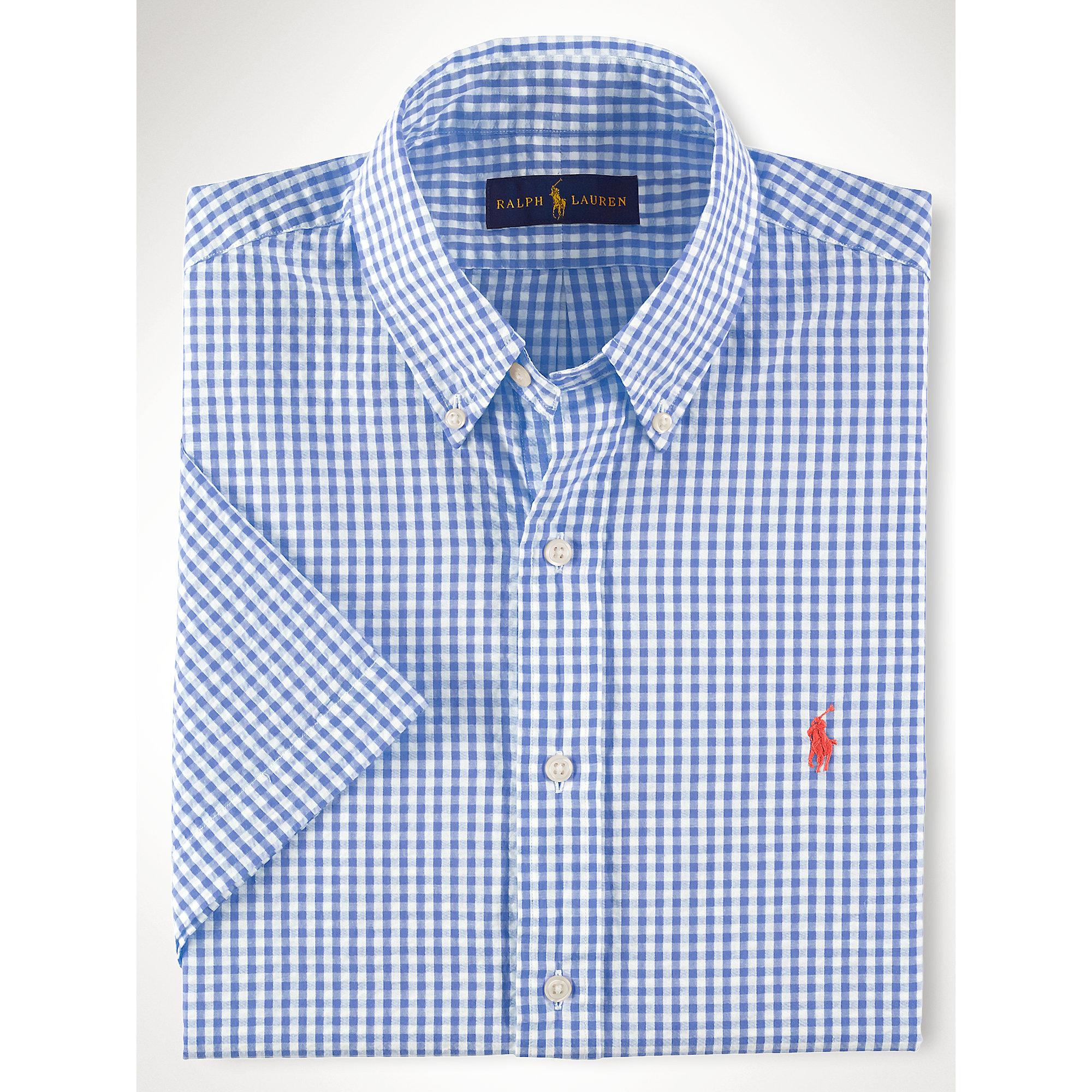 Polo Ralph Lauren Gingham Seersucker Shirt In Lime White Blue