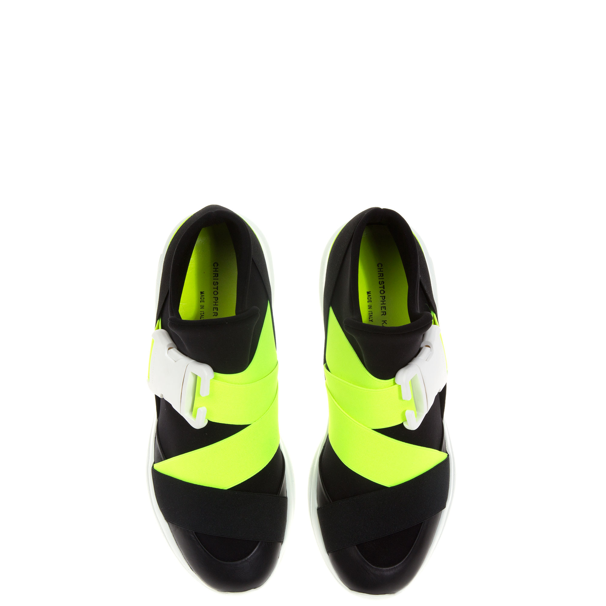 Christopher kane Buckle Neon Sneakers in Black for Men