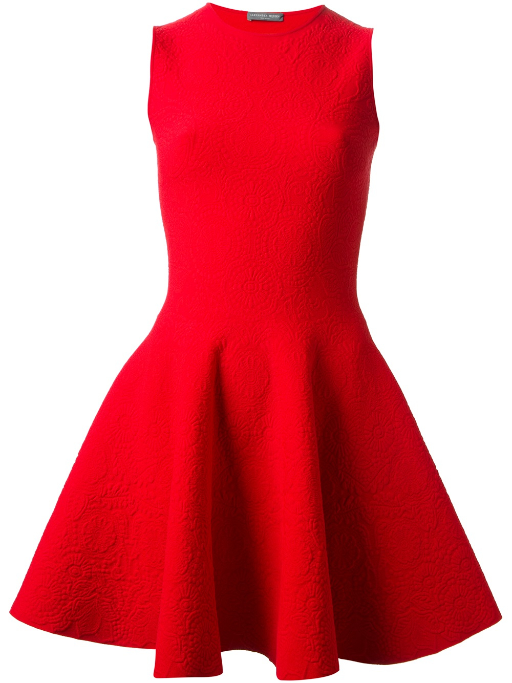 Lyst Alexander Mcqueen Flared Skater Dress In Red