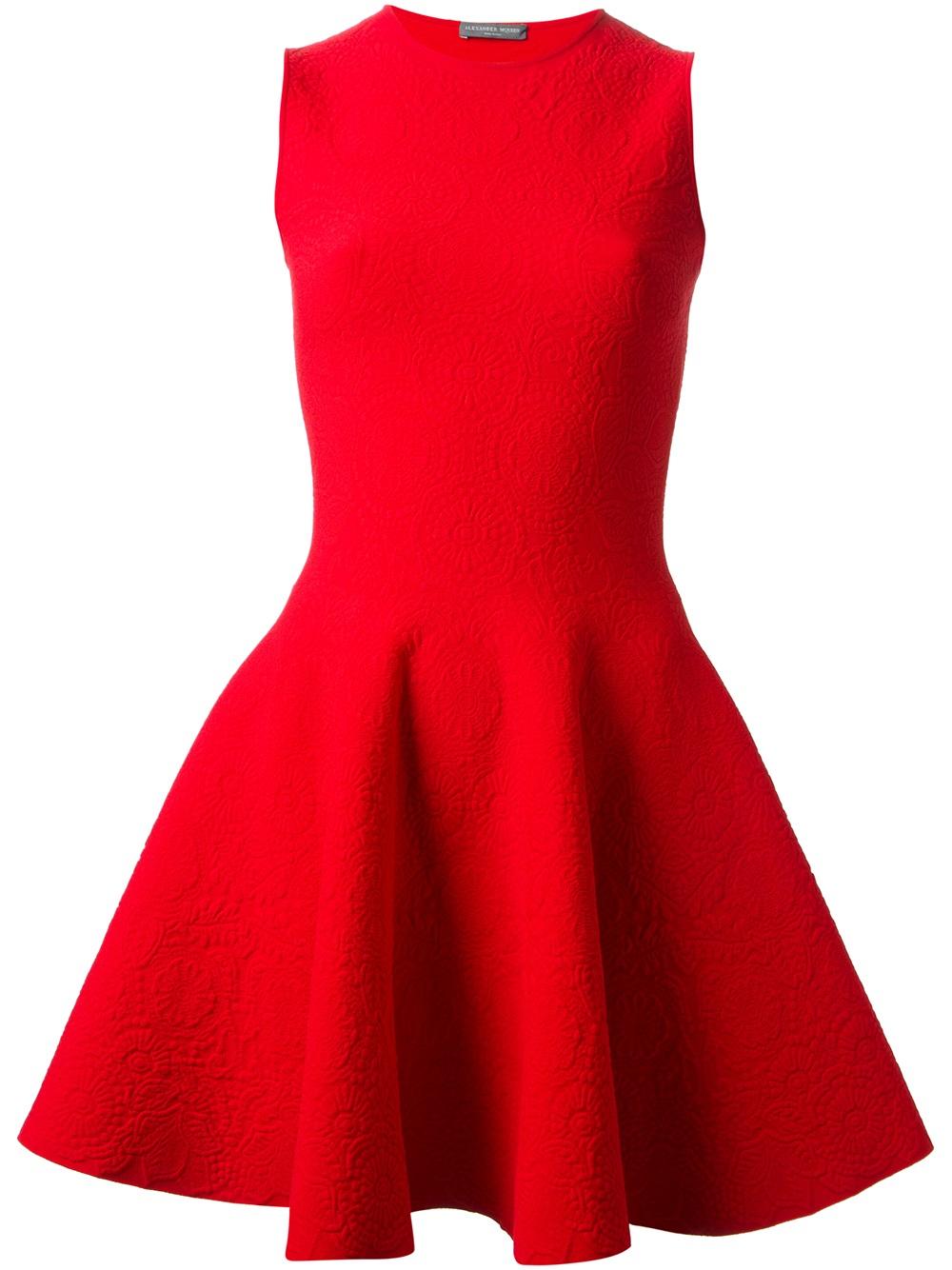 Alexander Mcqueen Flared Skater Dress In Red Lyst