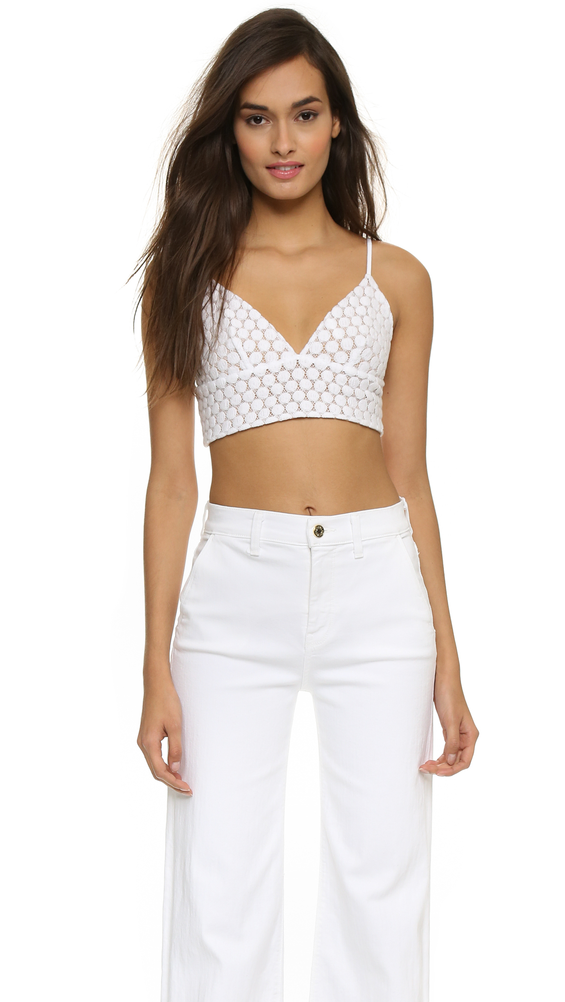 39dc47aa33 David Lerner Lace Bralette Top - Ink in White - Lyst