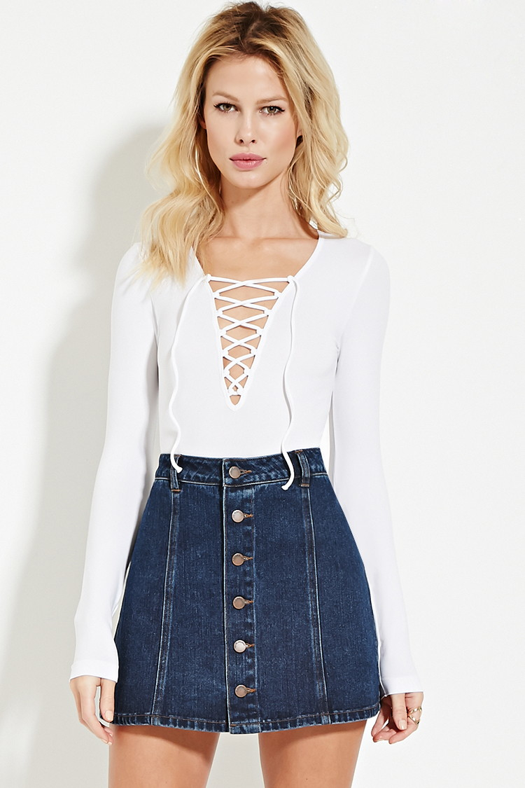 21 Best James Brolin Images On Pinterest: Forever 21 Lace-up Top In White