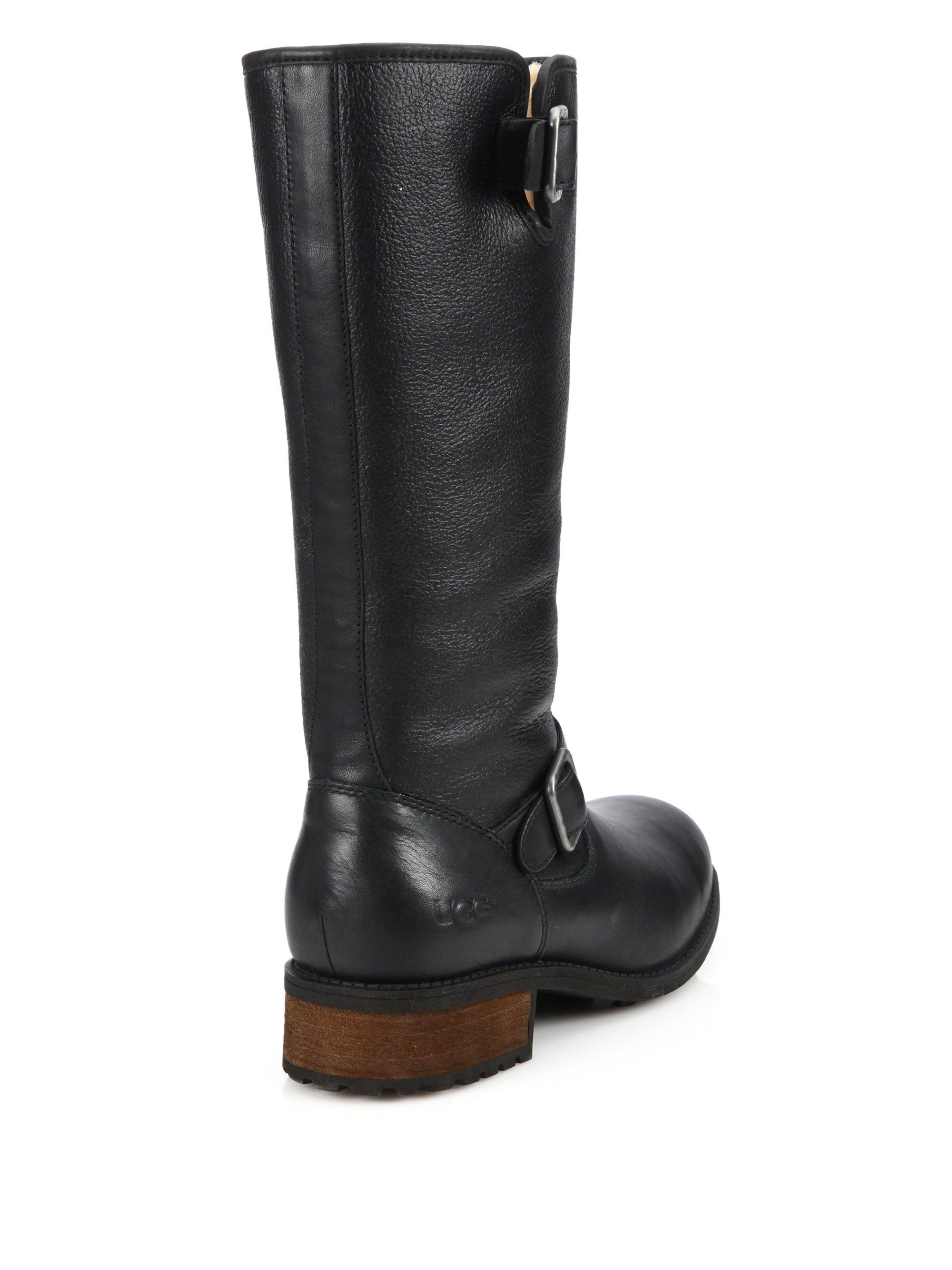 f0e77174b8f UGG Black Chancery Sheepskin & Leather Boots