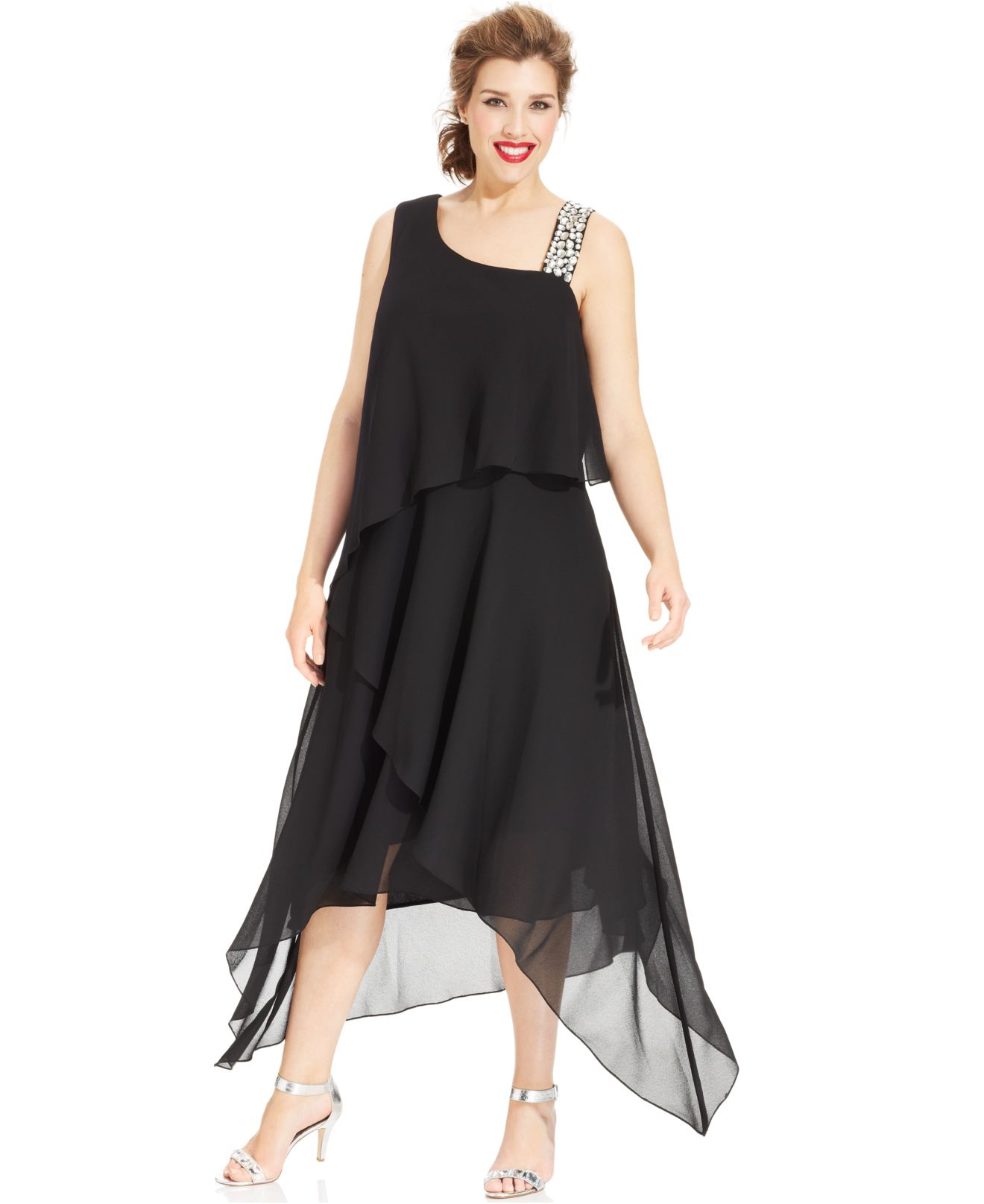 Alex Evenings Black Plus Size Asymmetrical Tiered Dress