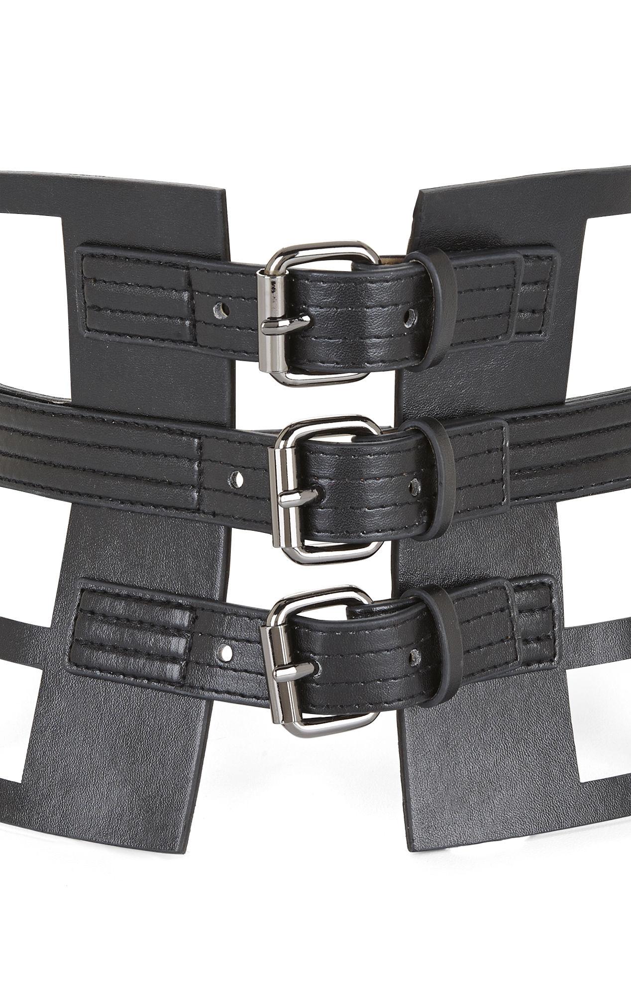 e801688e87 Lyst - BCBGMAXAZRIA Grid Cutout Corset Waist Belt in Black