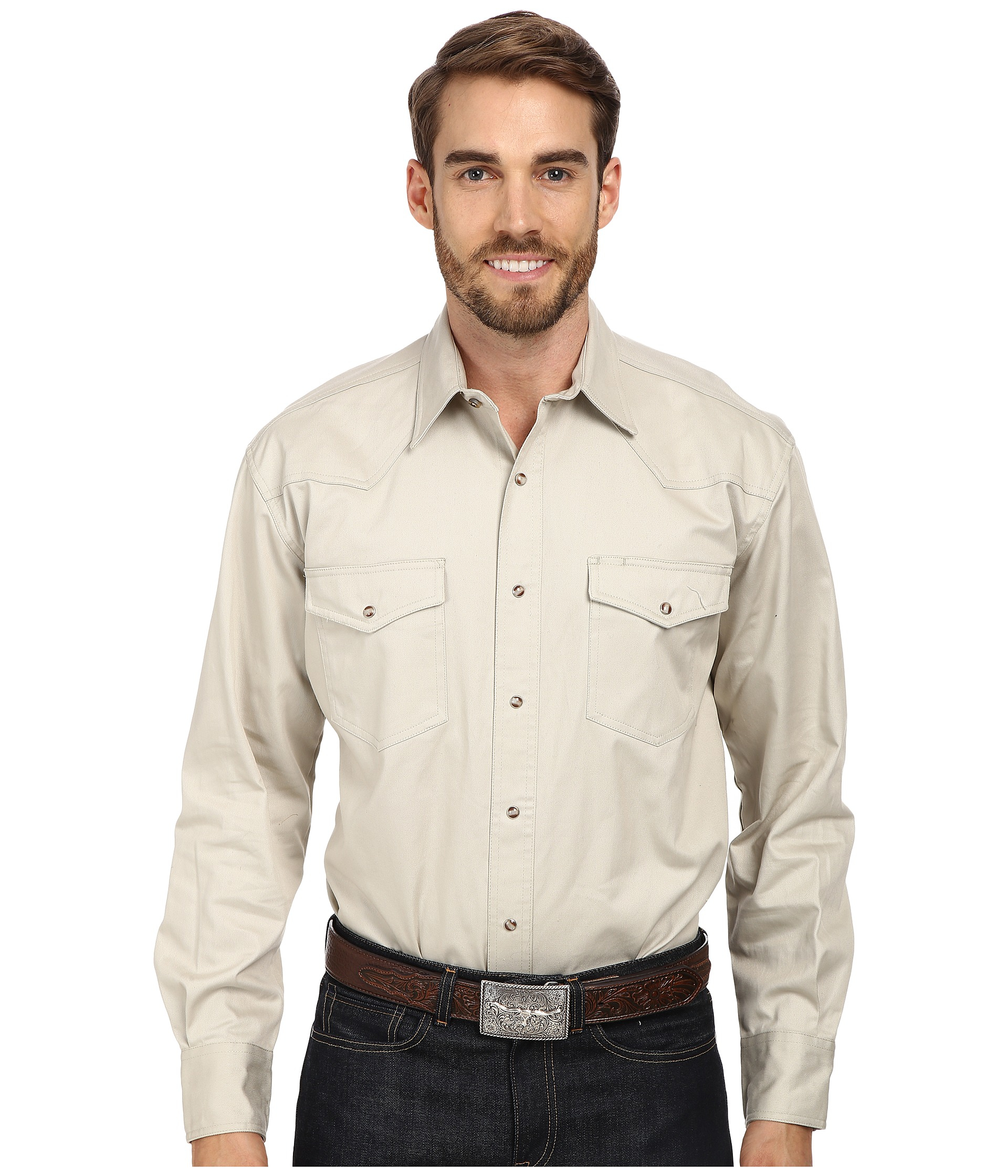 Roper l s solid basic snap front in natural for men lyst for Mens shirts with snaps instead of buttons