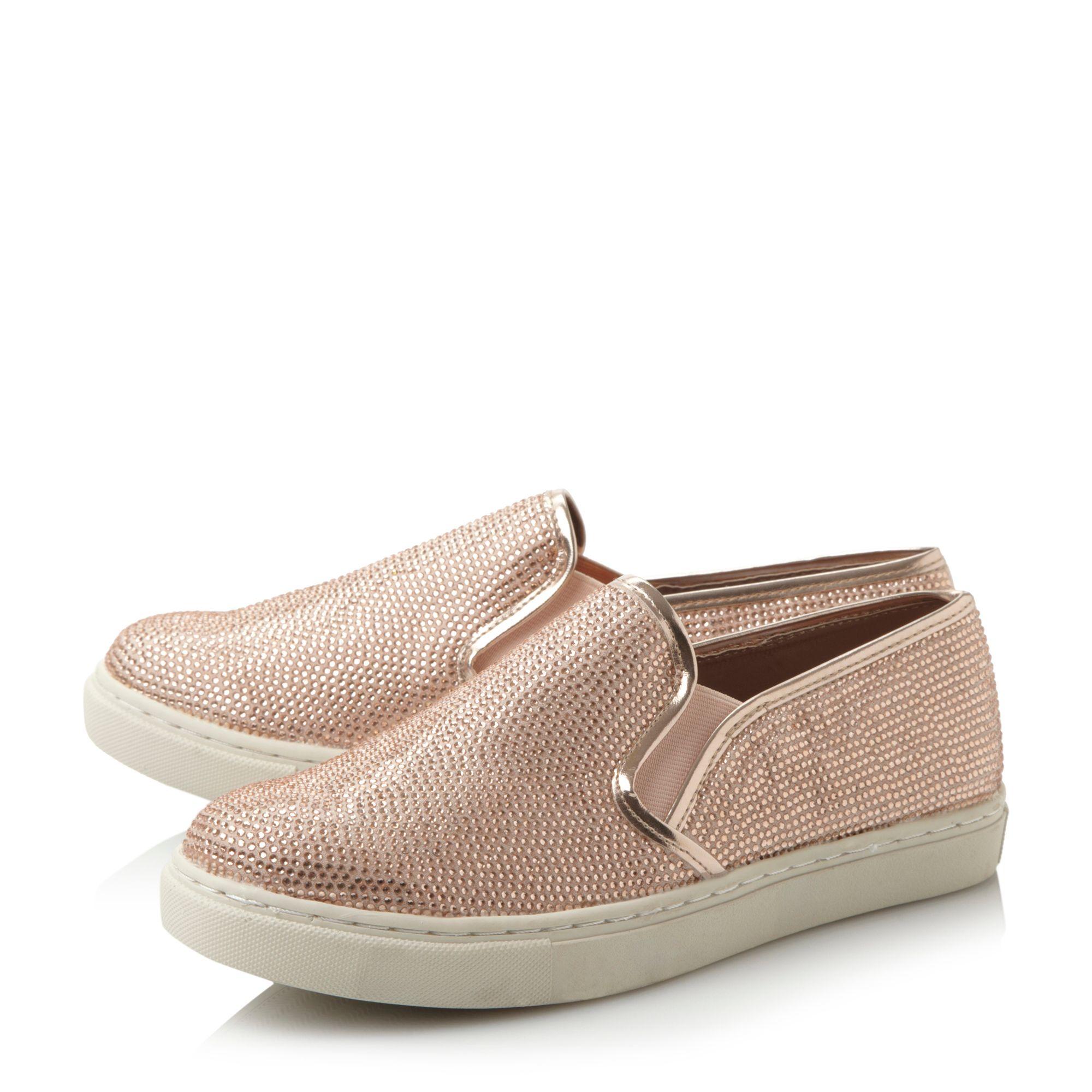 Steve Madden Exsess Rhinestone Sneakers in Rose Gold (Pink)
