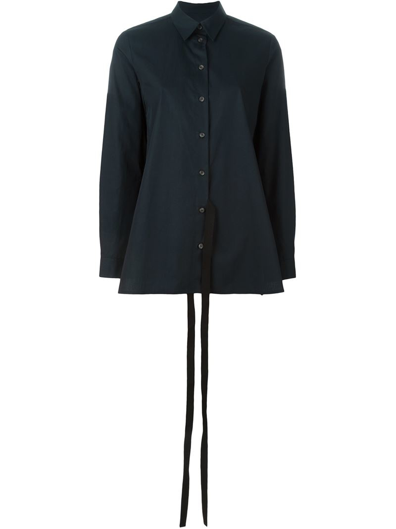 Mm6 by maison martin margiela strap detail shirt in black for Mm6 maison margiela