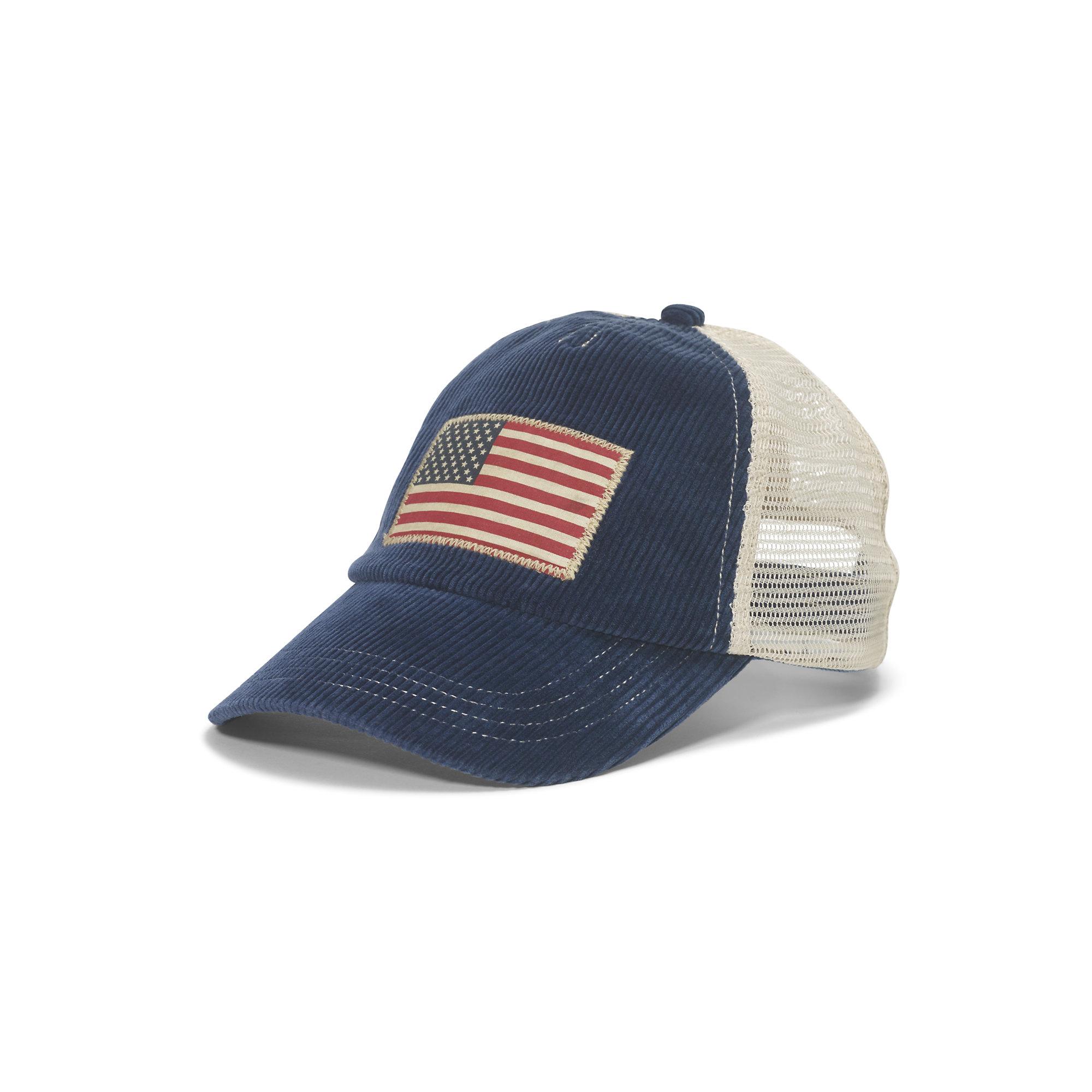 Lyst - Polo Ralph Lauren Corduroy Flag Trucker Cap in Blue for Men 65d6260ce25