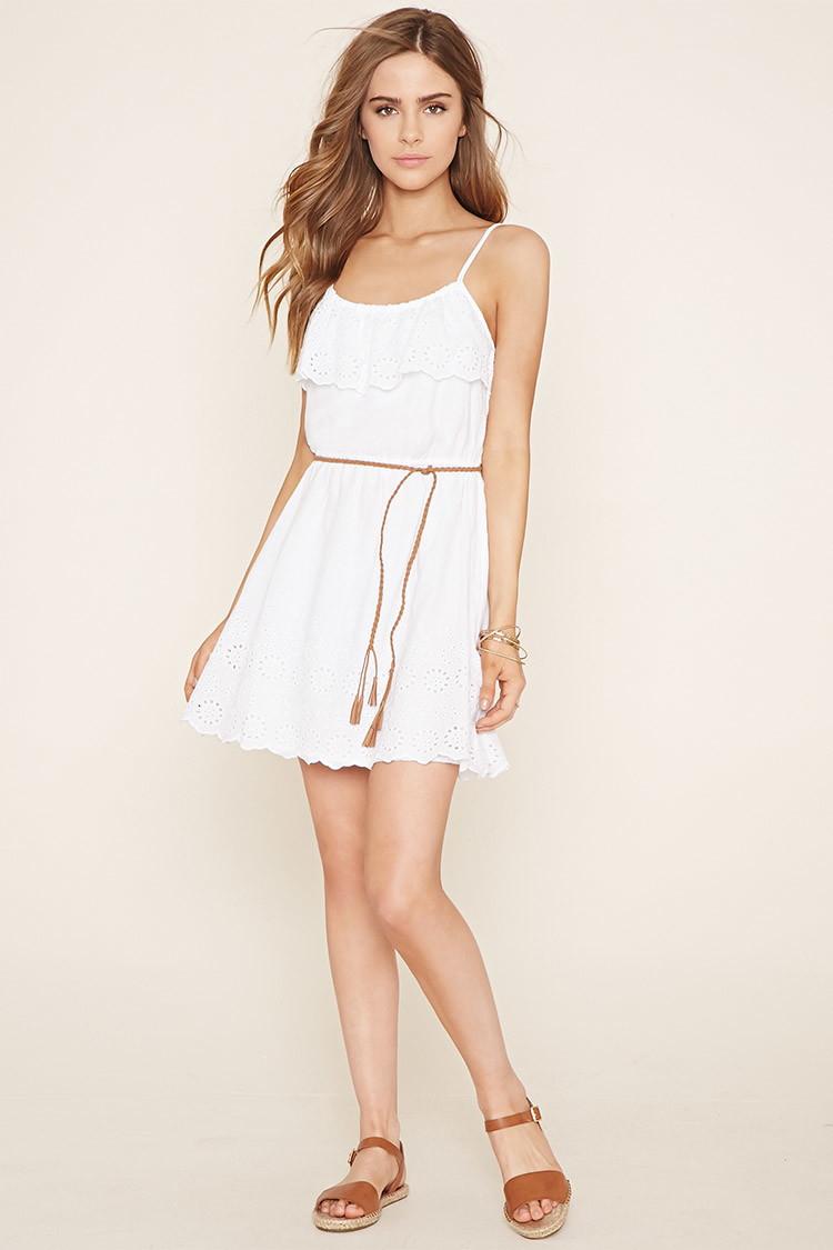 Forever 21 Eyelet Cami Dress In White Lyst