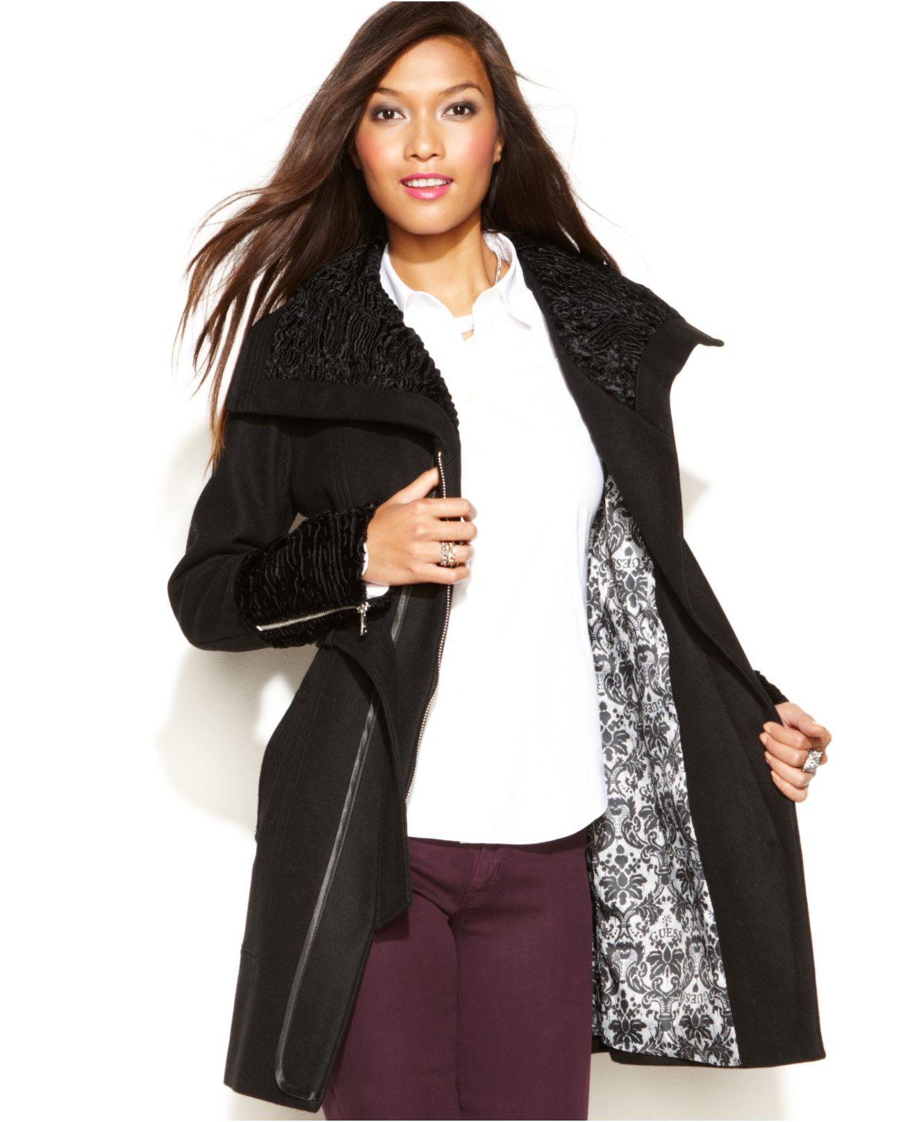 Guess Wool-Blend Faux-Fur-Trim Belted Coat in Black - Lyst