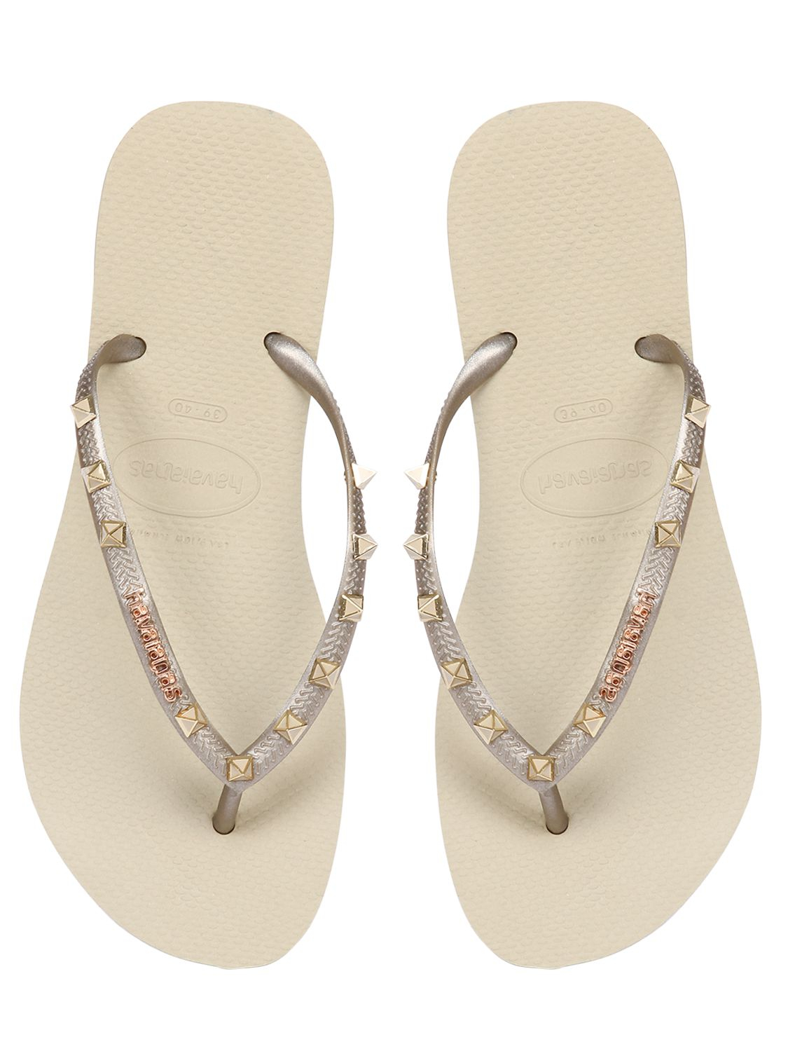 Havaianas Slim Pins Studded Rubber Flip Flops In Natural