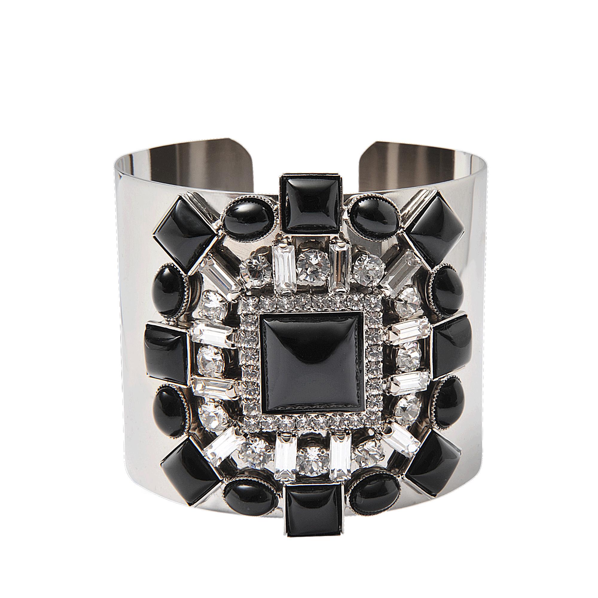 Helene Zubeldia Crystals Cascade Open Bracelet in Ruthenium and Crystals XR3TkiQ