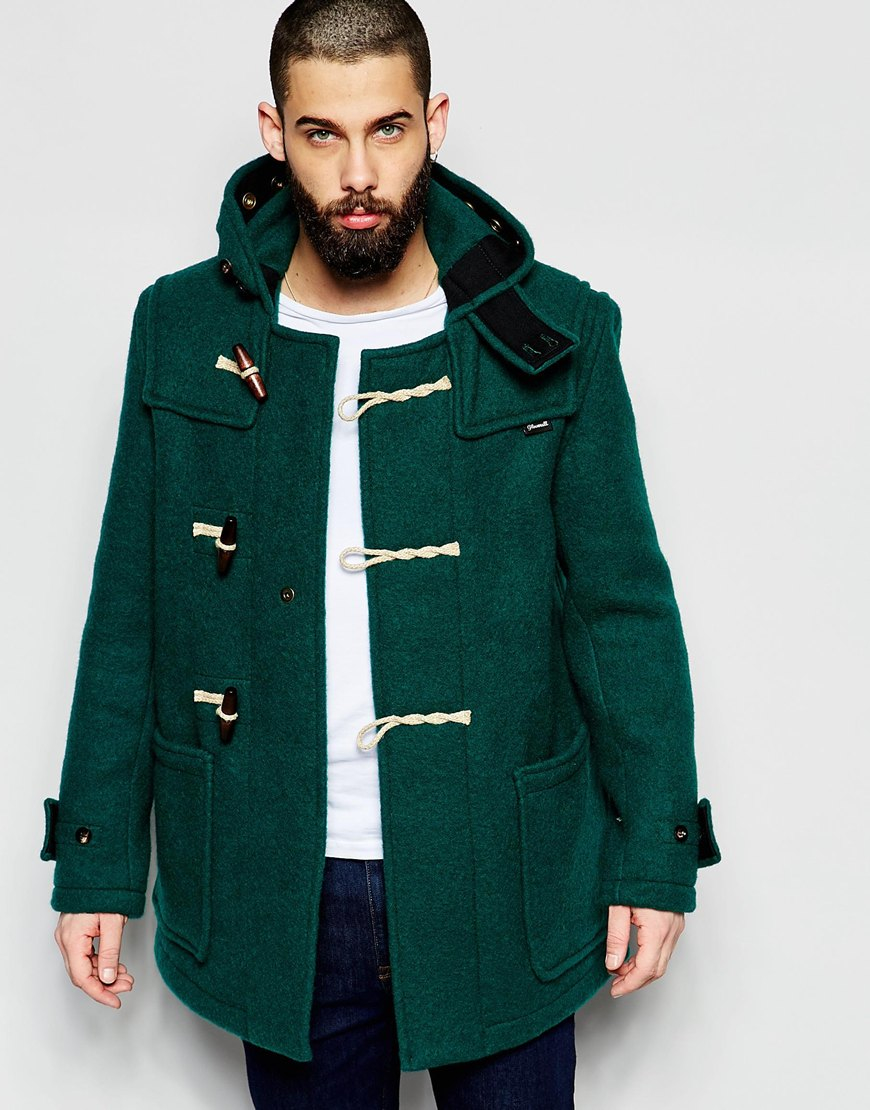 Gloverall Mid Monty Duffle Coat in Green for Men | Lyst
