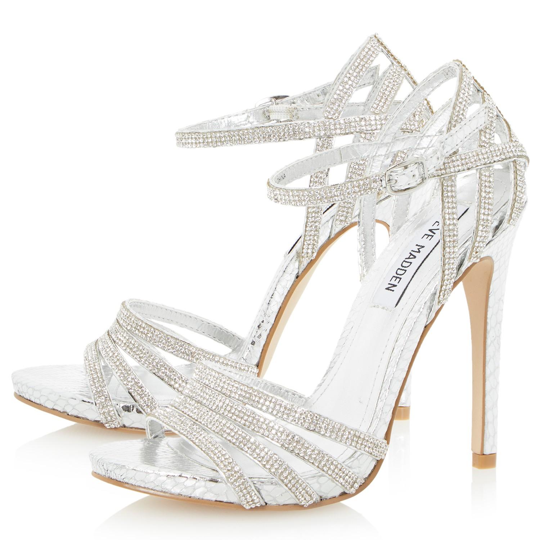 83302cef03e Steve Madden Cagged High Heel Sandals in Metallic - Lyst