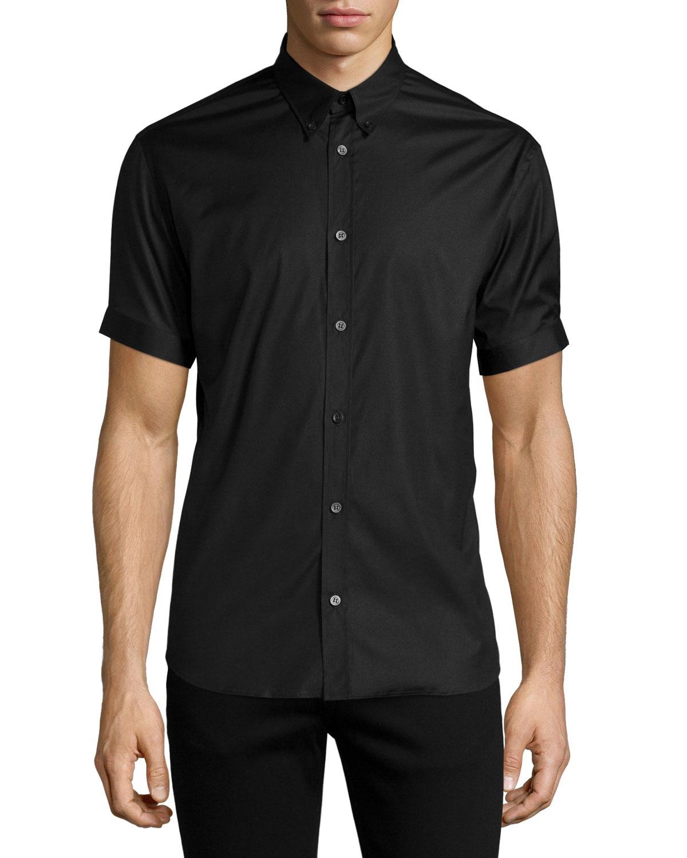 Alexander mcqueen short sleeve button down shirt in black for Alexander mcqueen shirt men