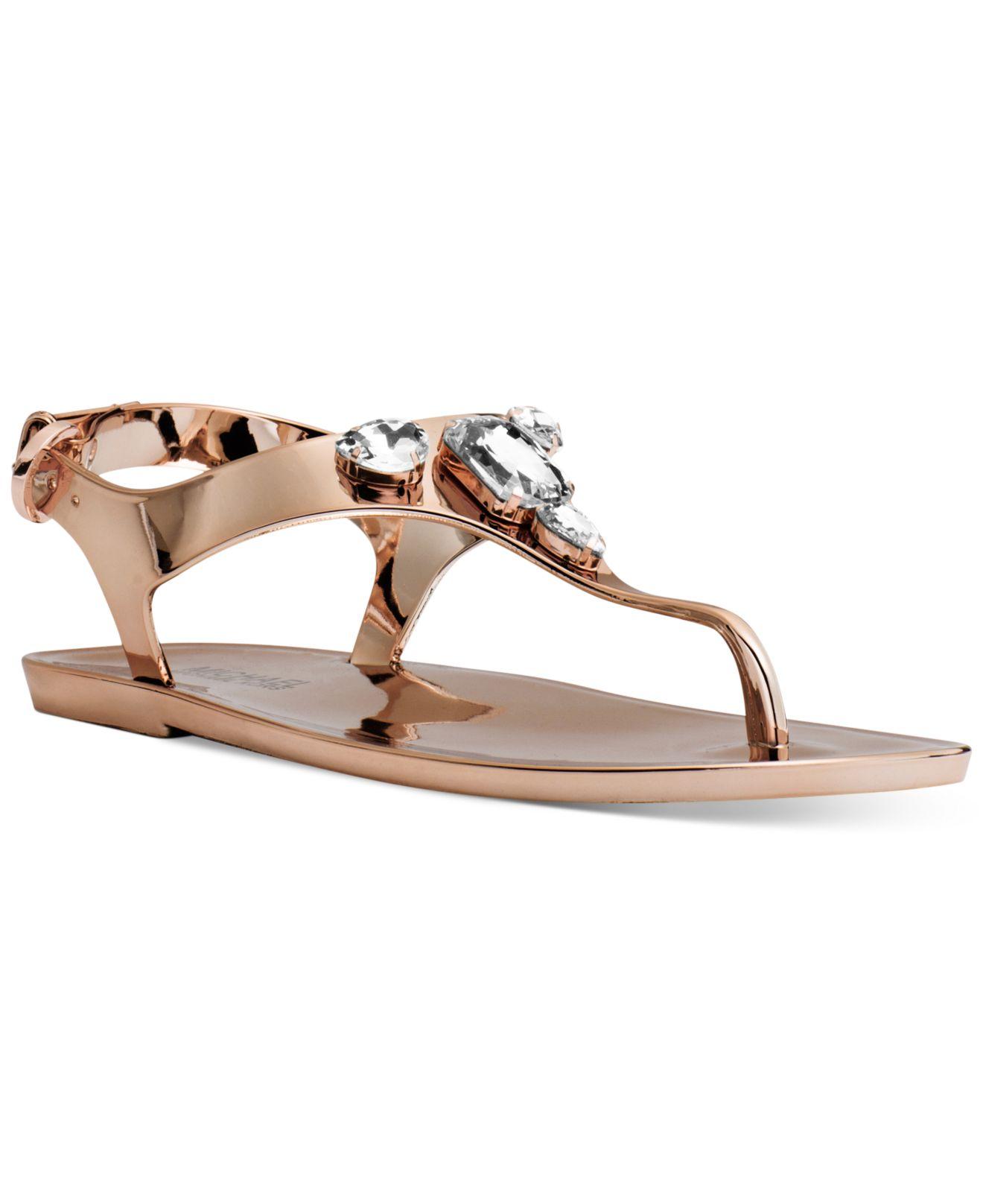 537d8d62162 Lyst - Michael Kors Michael Jayden Jeweled Jelly Flat Thong Sandals ...