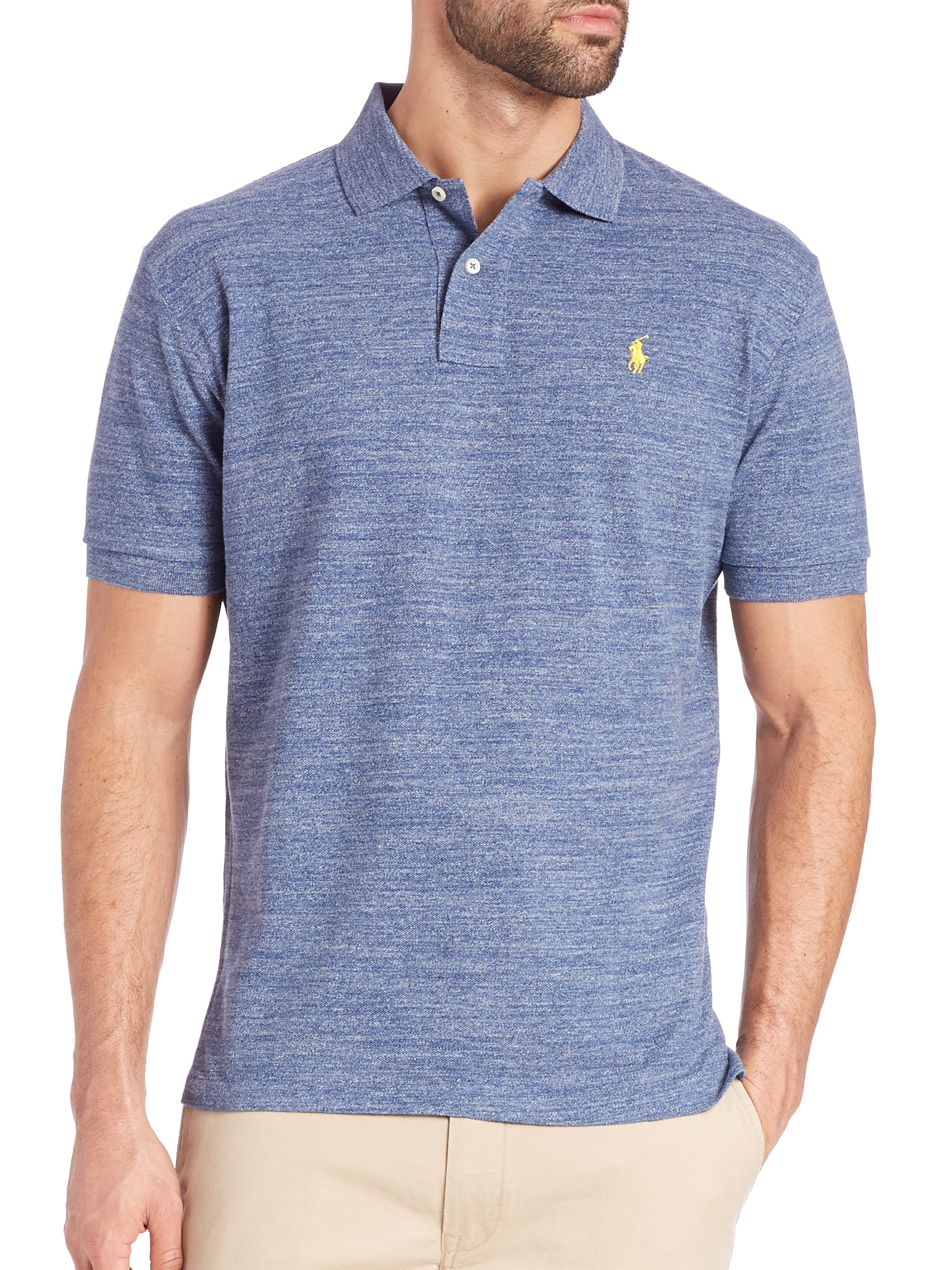 Lyst - Polo Ralph Lauren Heathered Polo Shirt in Blue for Men