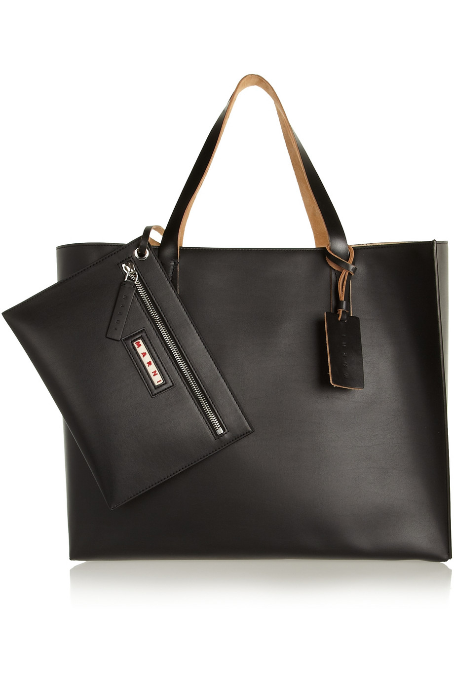 Lyst Marni Large Faux Leather Tote In Black