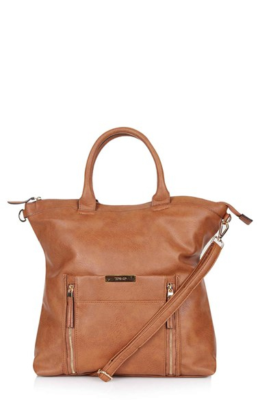 Topshop Faux Leather Bag in Brown | Lyst