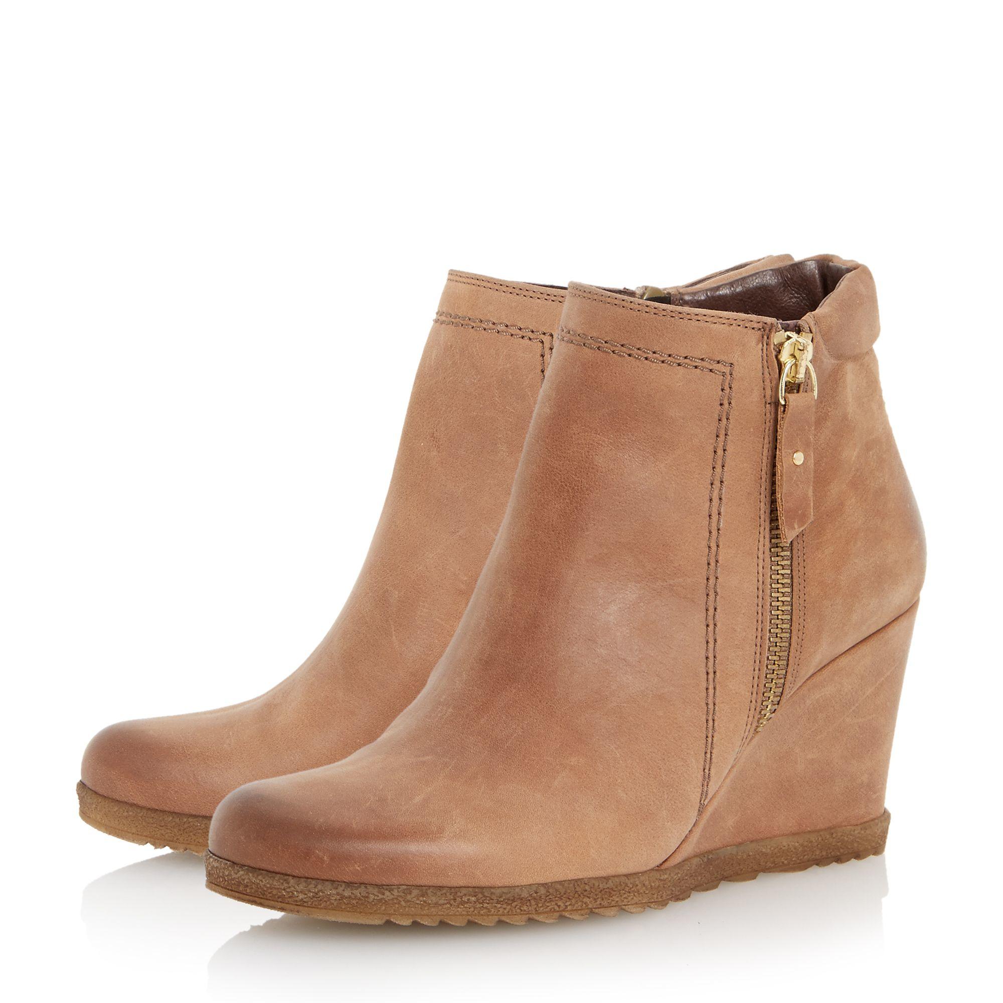 dune pacino zip detail wedge boots in brown lyst