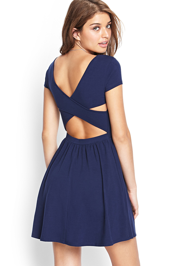 Forever 21 Cutout Fit Amp Flare Dress In Blue Lyst