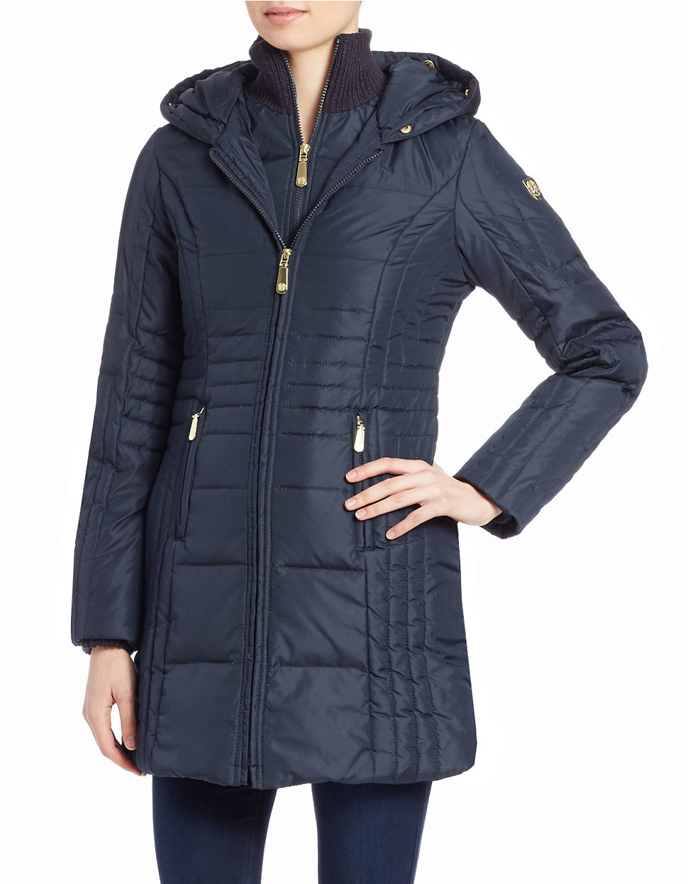 Vince Camuto Faux Fur Hooded Puffer Coat In Navy Blue