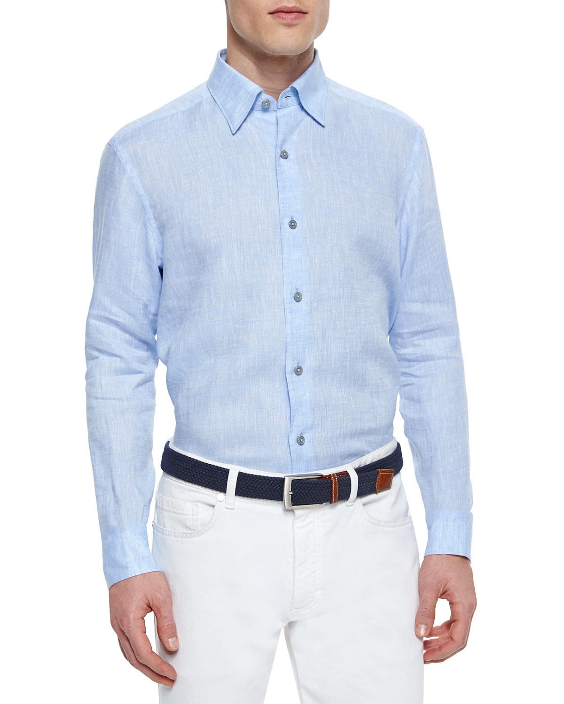 ermenegildo zegna solid linen sport shirt in blue for men lyst. Black Bedroom Furniture Sets. Home Design Ideas