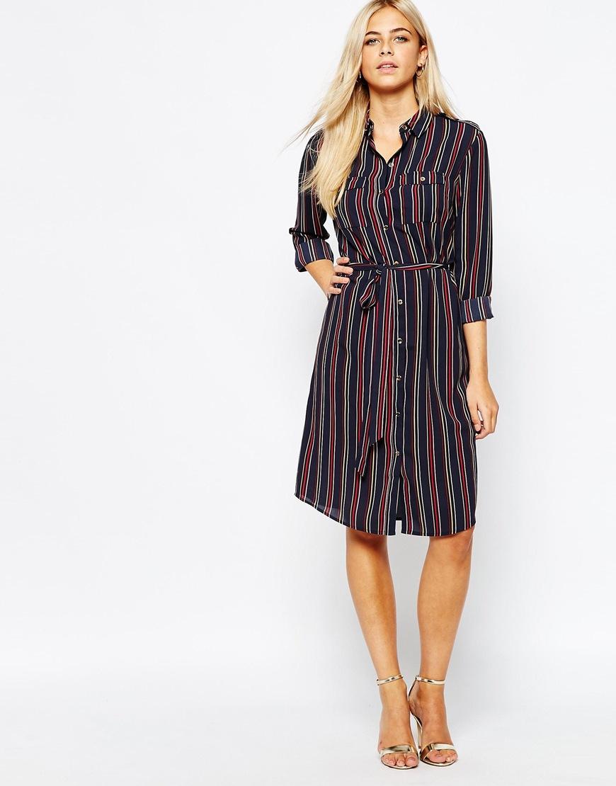 Oasis belted stripe shirt dress in purple lyst for Navy striped dress shirt