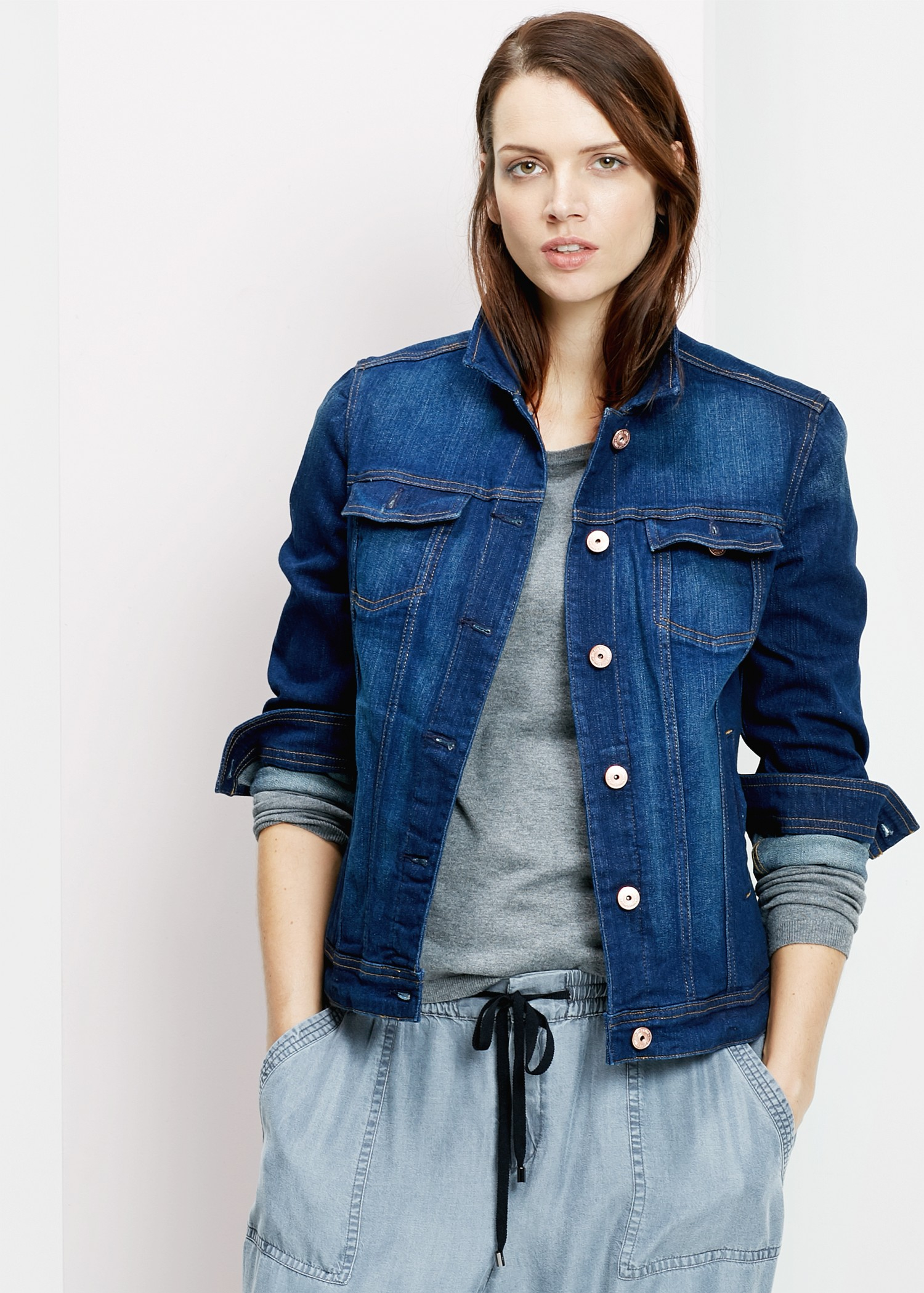 Violeta by mango Dark Denim Jacket in Blue | Lyst