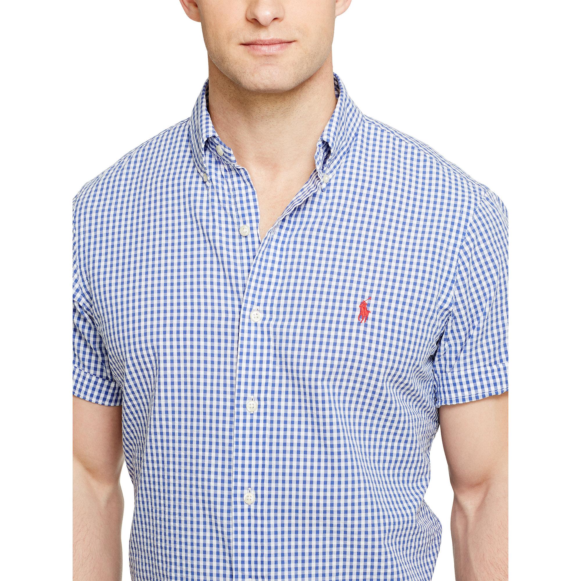 Polo Ralph Lauren Gingham Seersucker Shirt In Blue White Blue
