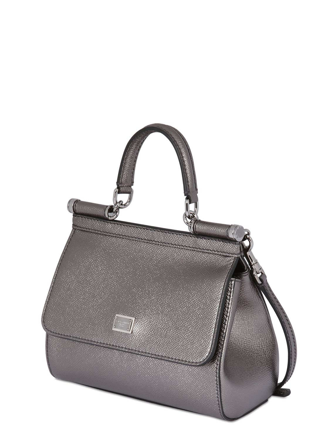 554c8e7545de Lyst - Dolce   Gabbana Small Sicily Lamé Dauphine Leather Bag in ...