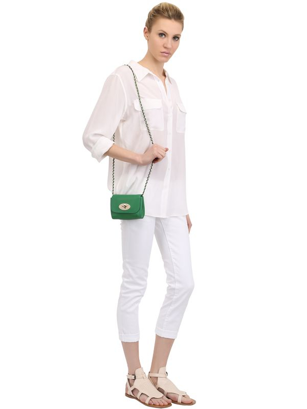 d7b73a95d168 Lyst - Mulberry Mini Lily Grained Leather Shoulder Bag in Green
