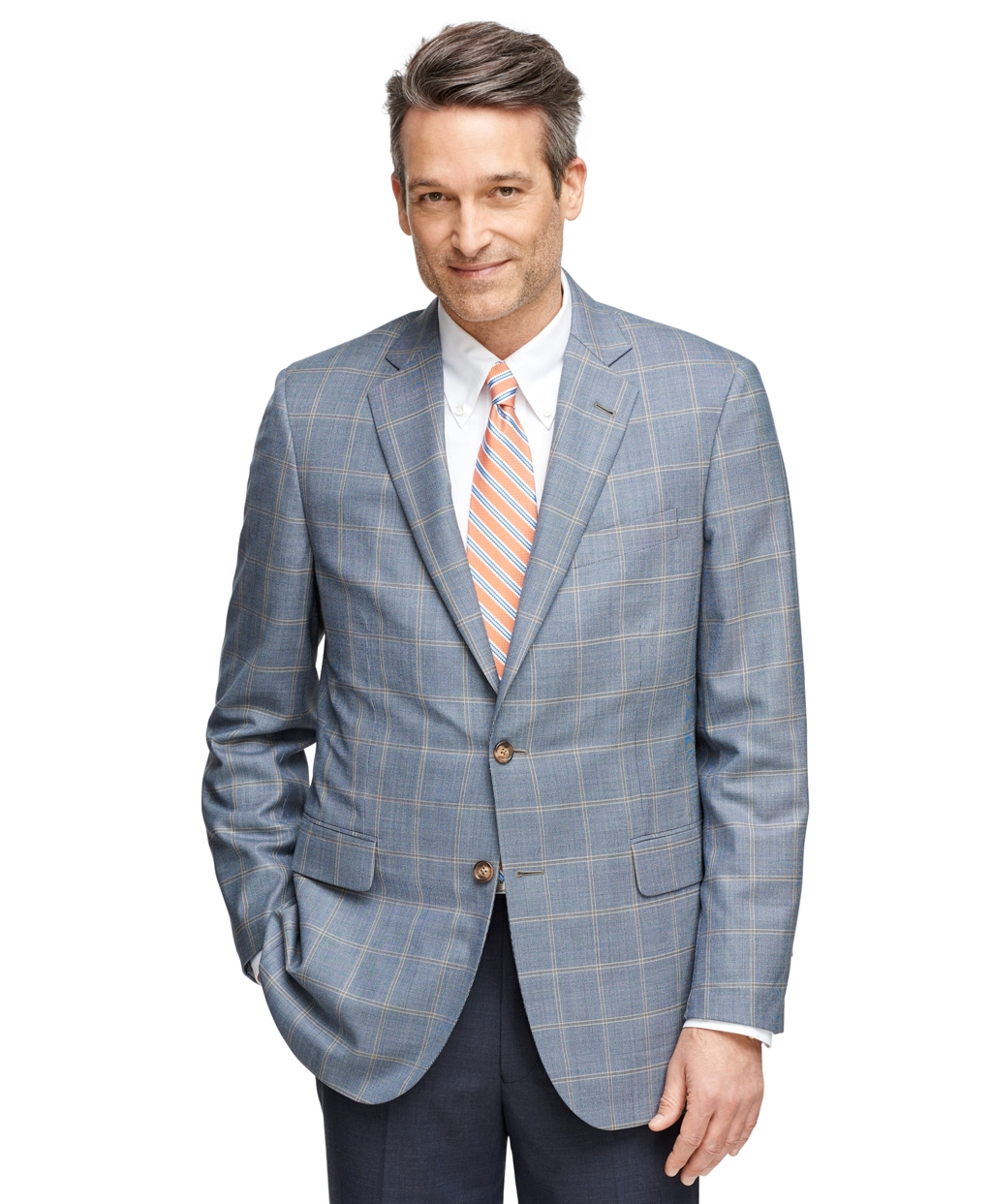 Lyst brooks brothers madison fit brookscool windowpane for Brooks brothers sports shirts