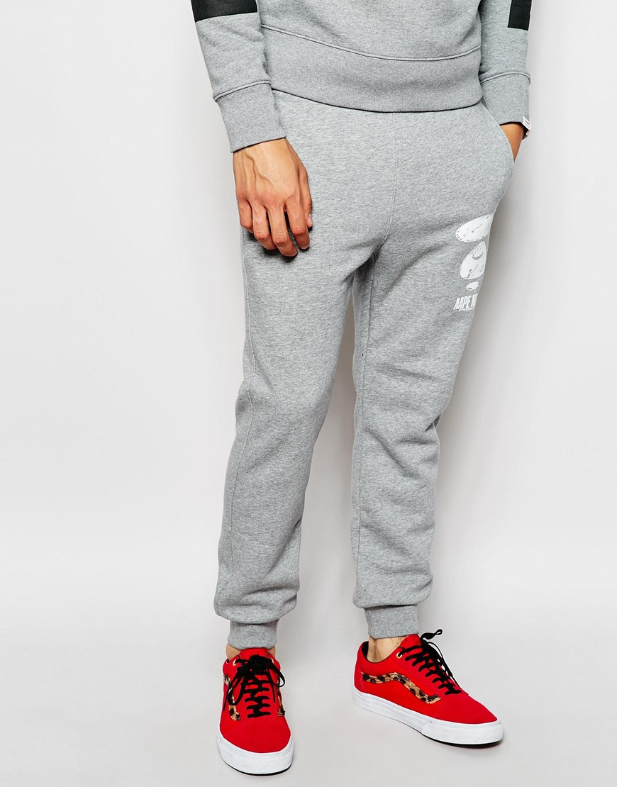 a1b46e9b9 Aape By A Bathing Ape Joggers With Badge Print in Gray for Men - Lyst
