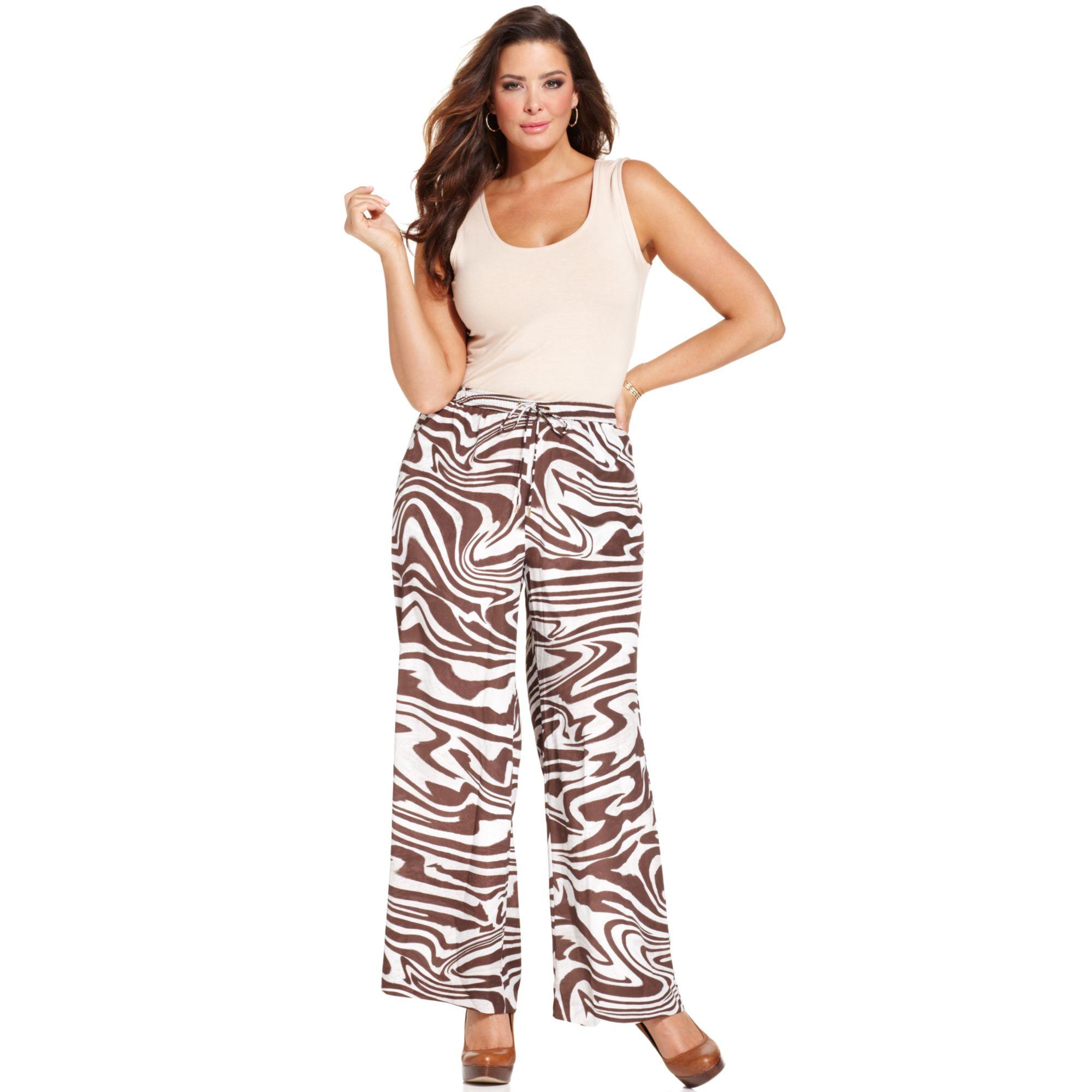 Michael kors Michael Plus Size Printed Wideleg Soft Pants in Brown ...