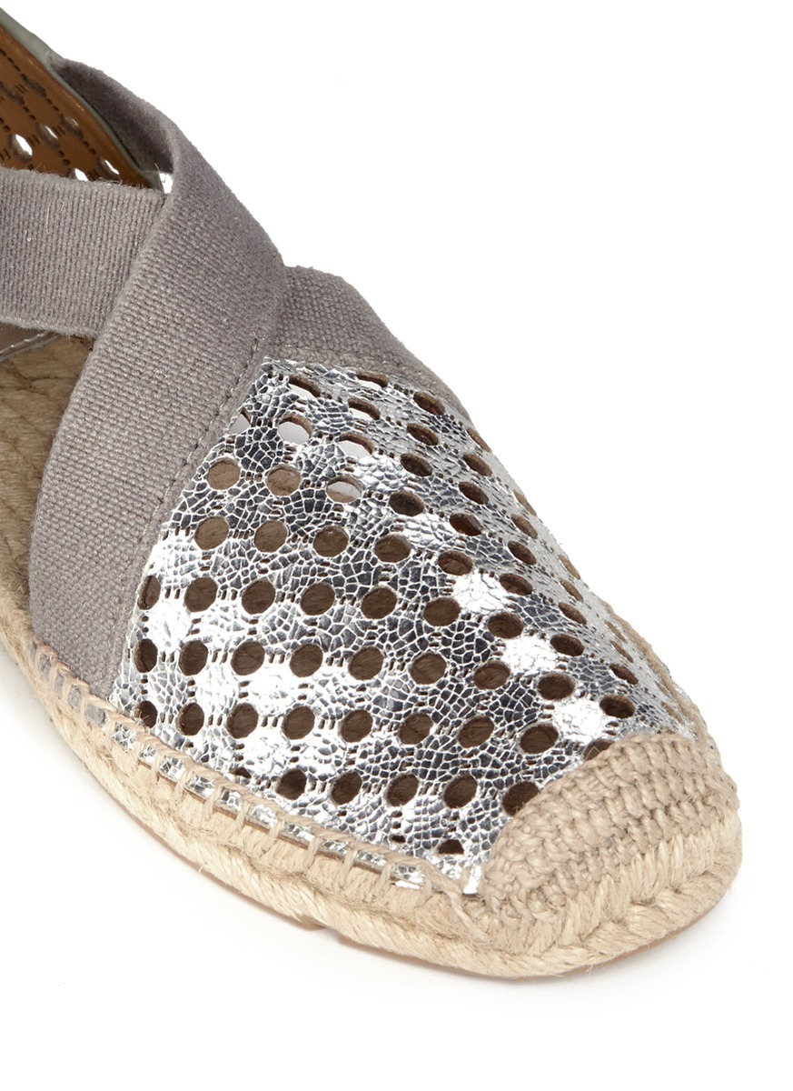 3e83af4e068d Lyst - Tory Burch  catalina  Perforated Metallic Leather Espadrilles ...