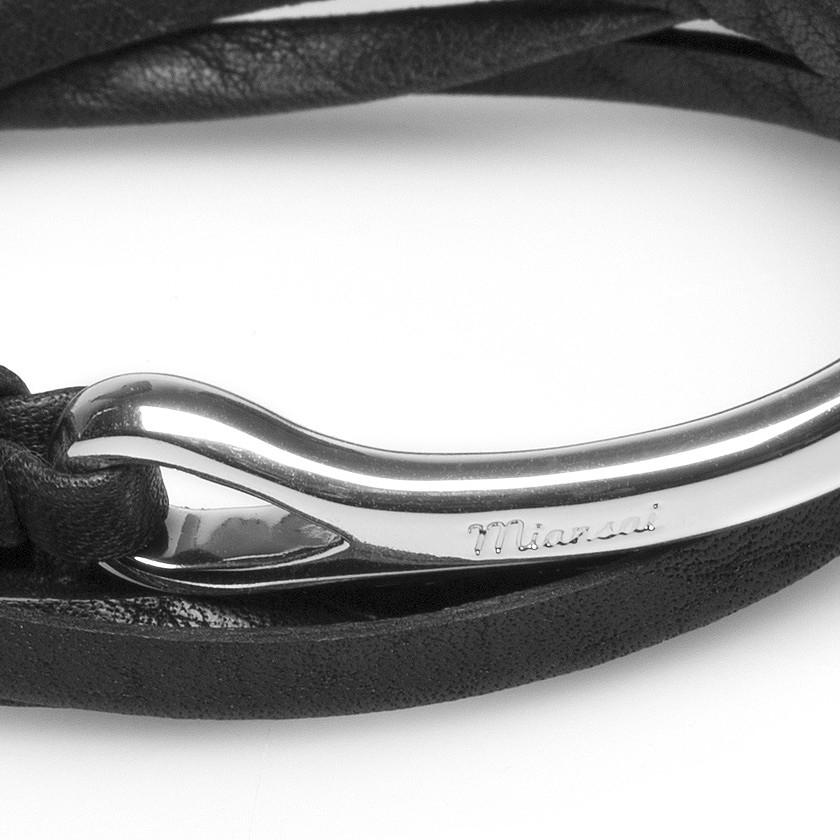 Miansai Black Leather Half Cuff Silver Anchor Bracelet In