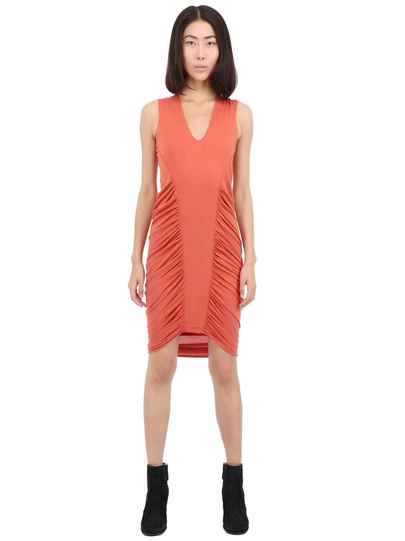Lyst Rick Owens Heavy Viscose Cotton Jersey Dress In Pink
