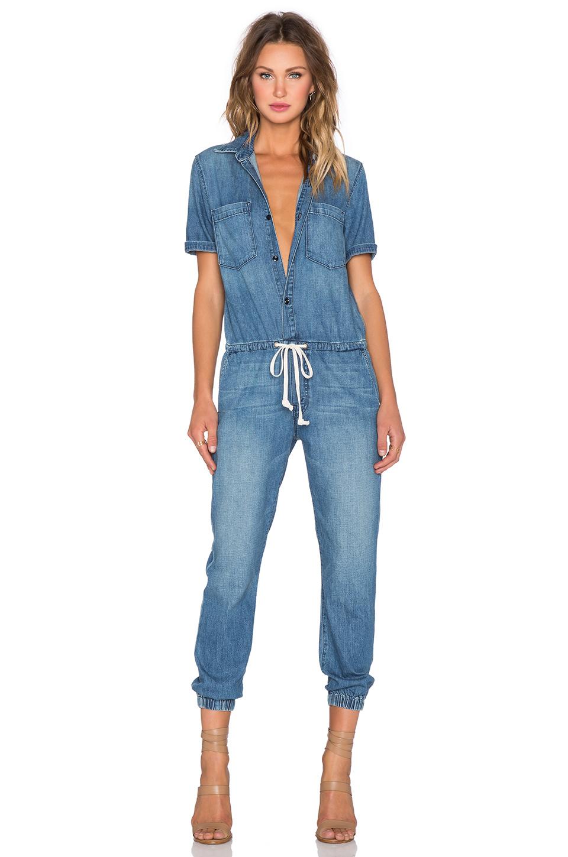Mother Short-Sleeved Denim Jumpsuit in Blue | Lyst