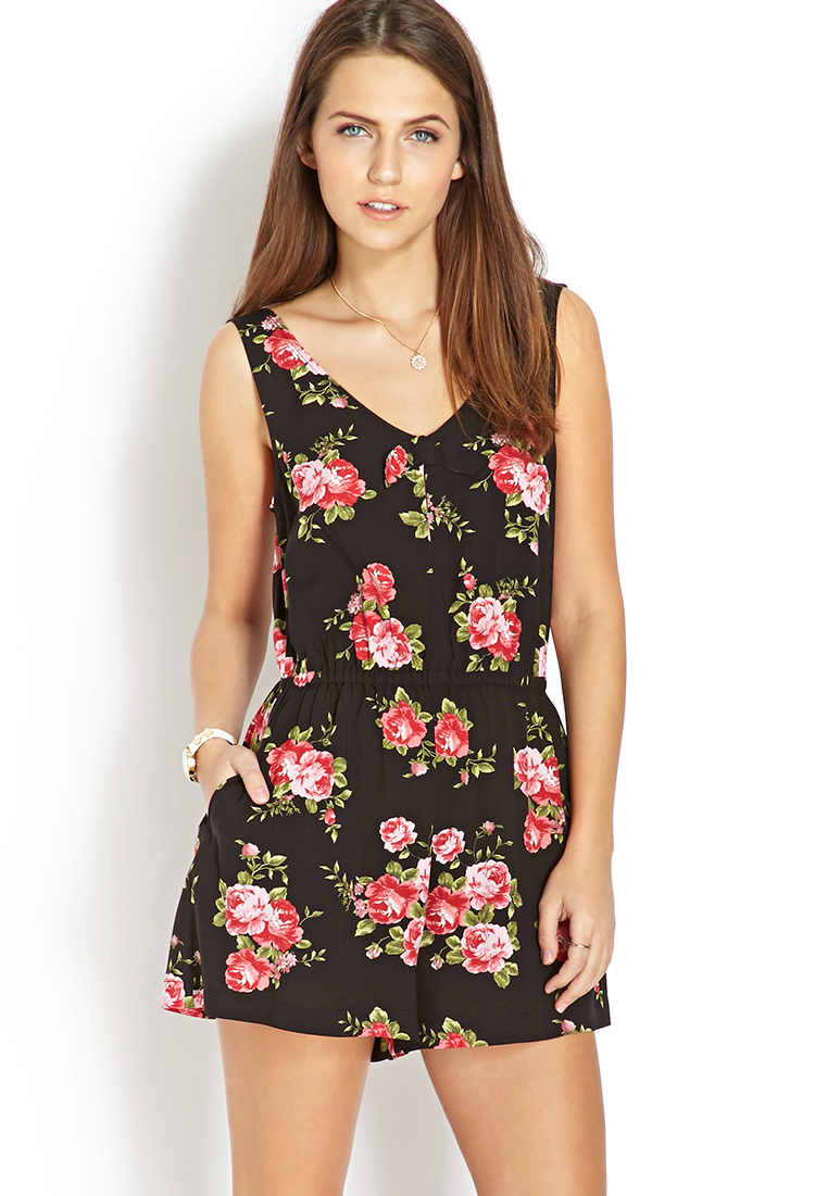f0cf04feea87 Forever 21 Ruffled Floral Romper In Black