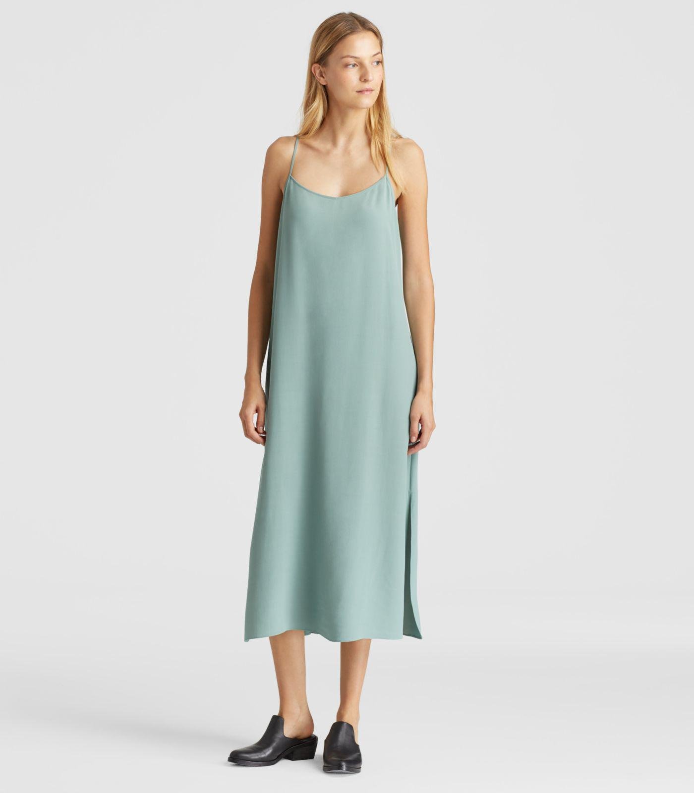 367f90b6e6 Lyst - Eileen Fisher Viscose Crepe Slip Dress in Green
