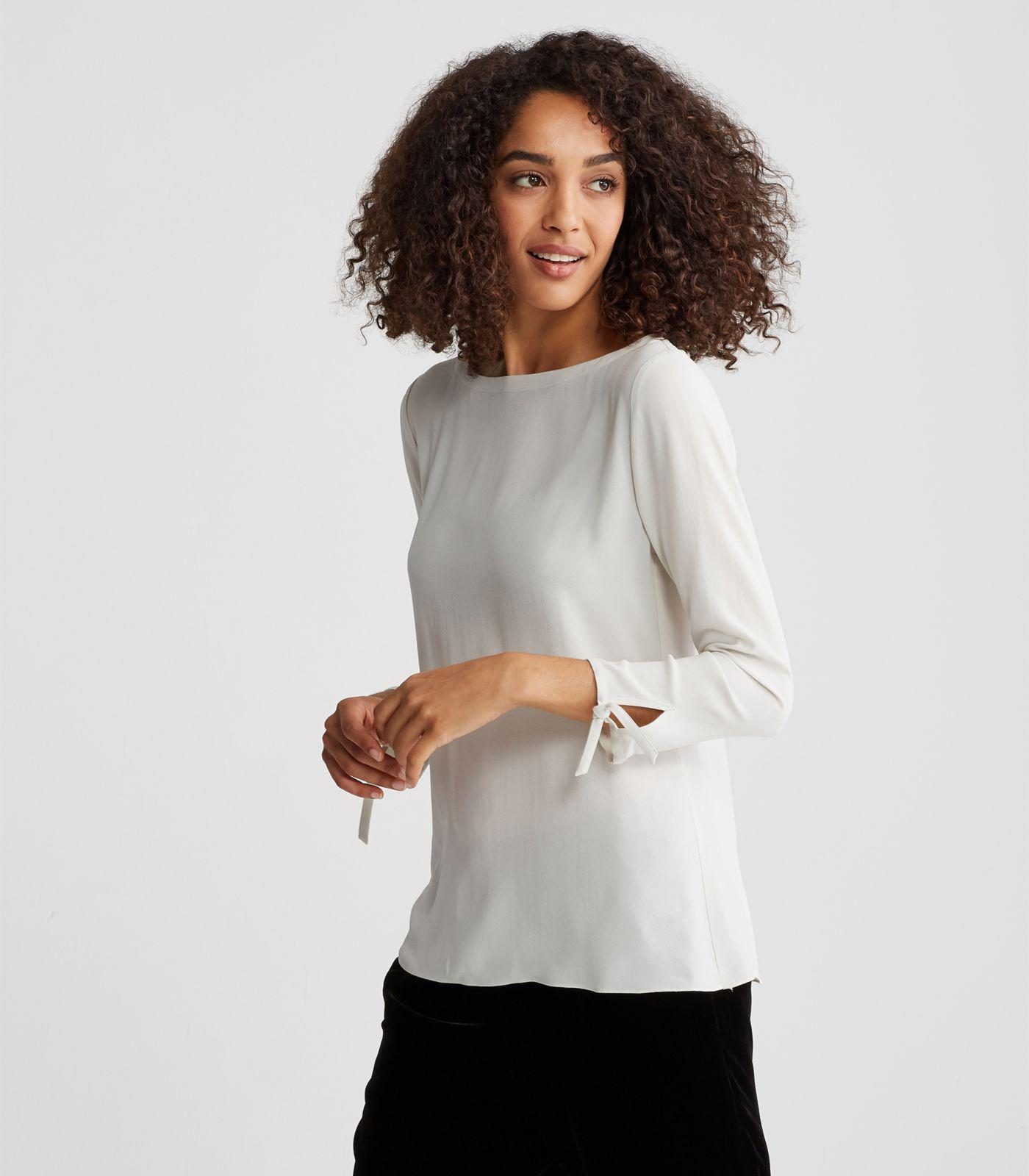 c3e9b1d50c9a67 Eileen Fisher Silk Georgette Crepe Tie-sleeve Top - Lyst