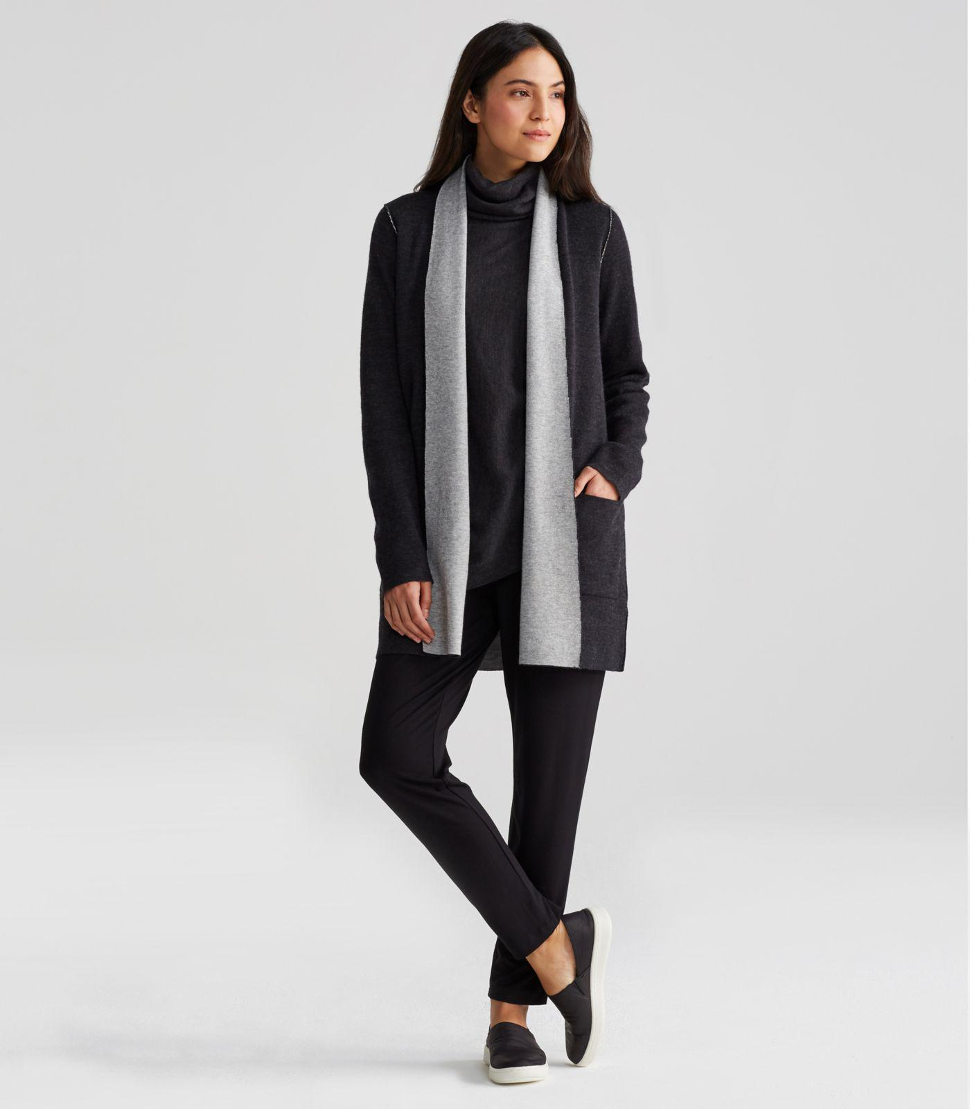 Eileen fisher Merino And Organic Cotton Cashmere Cardigan in Gray ...