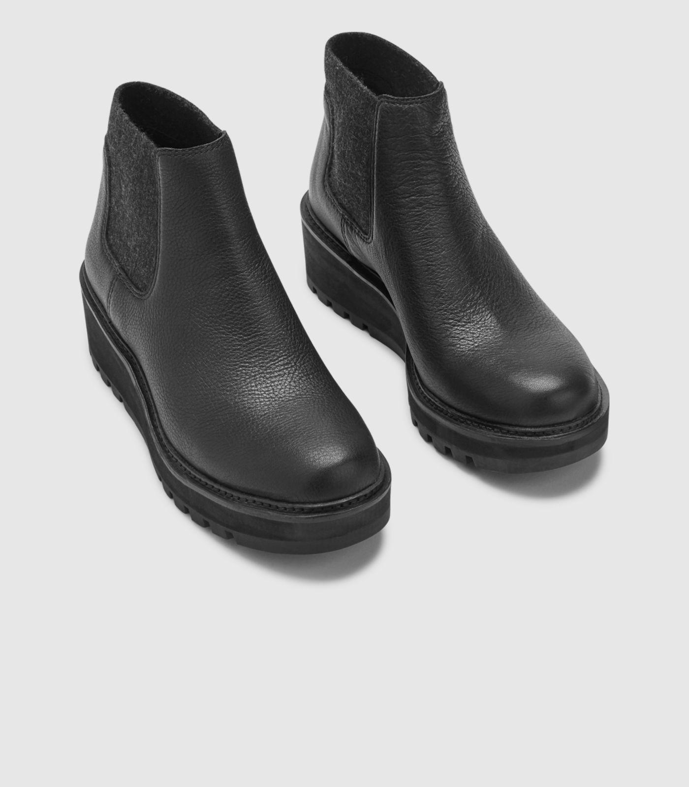 42367ba85c68 Eileen Fisher - Black Chelsea Wedge Bootie In Washed Leather - Lyst. View  fullscreen
