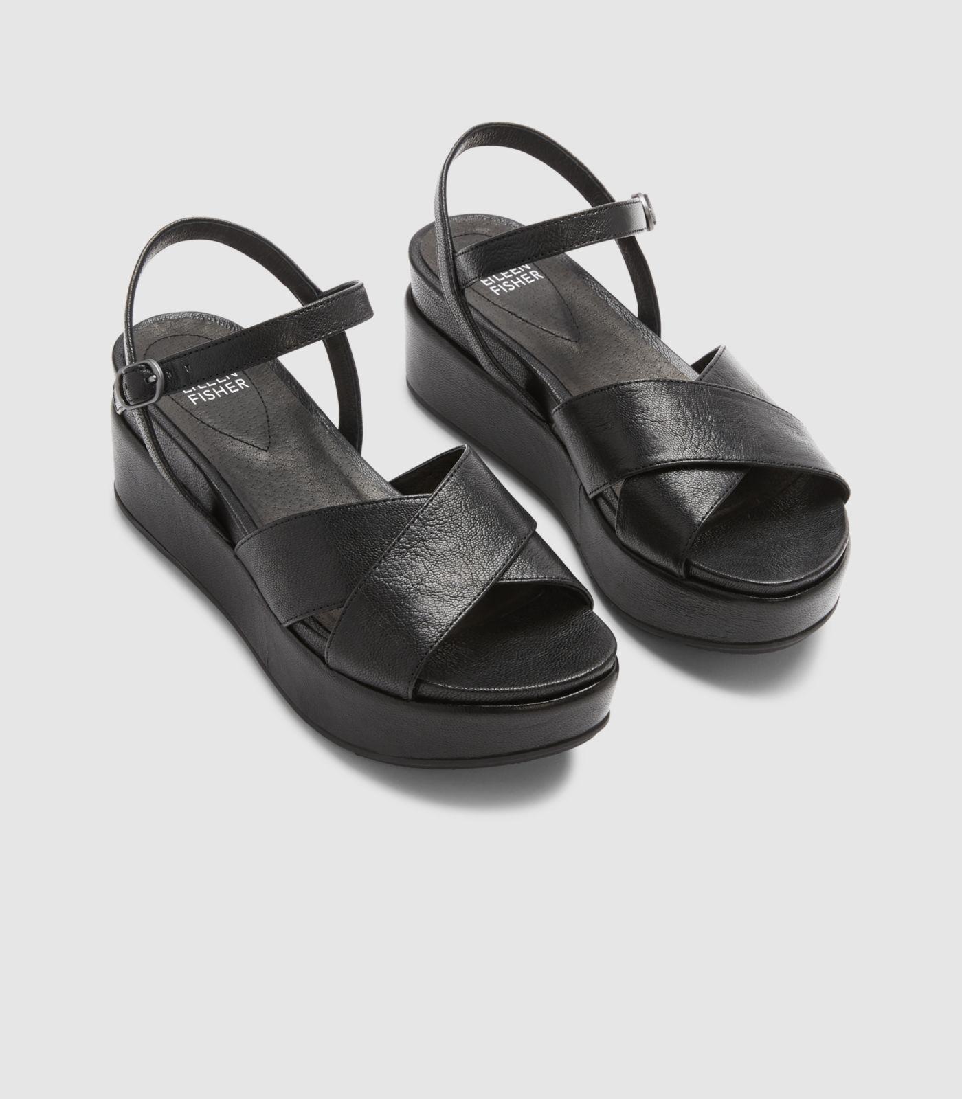 Eileen Fisher Leather Juno Platform Sandal In Black Lyst