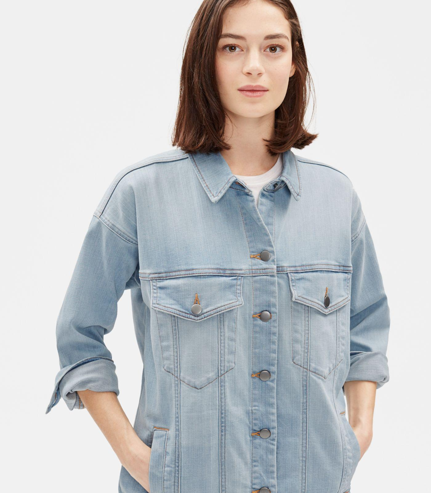 FieerWomen College Style Long Sleeve Holes Silm Fit Jean Coat