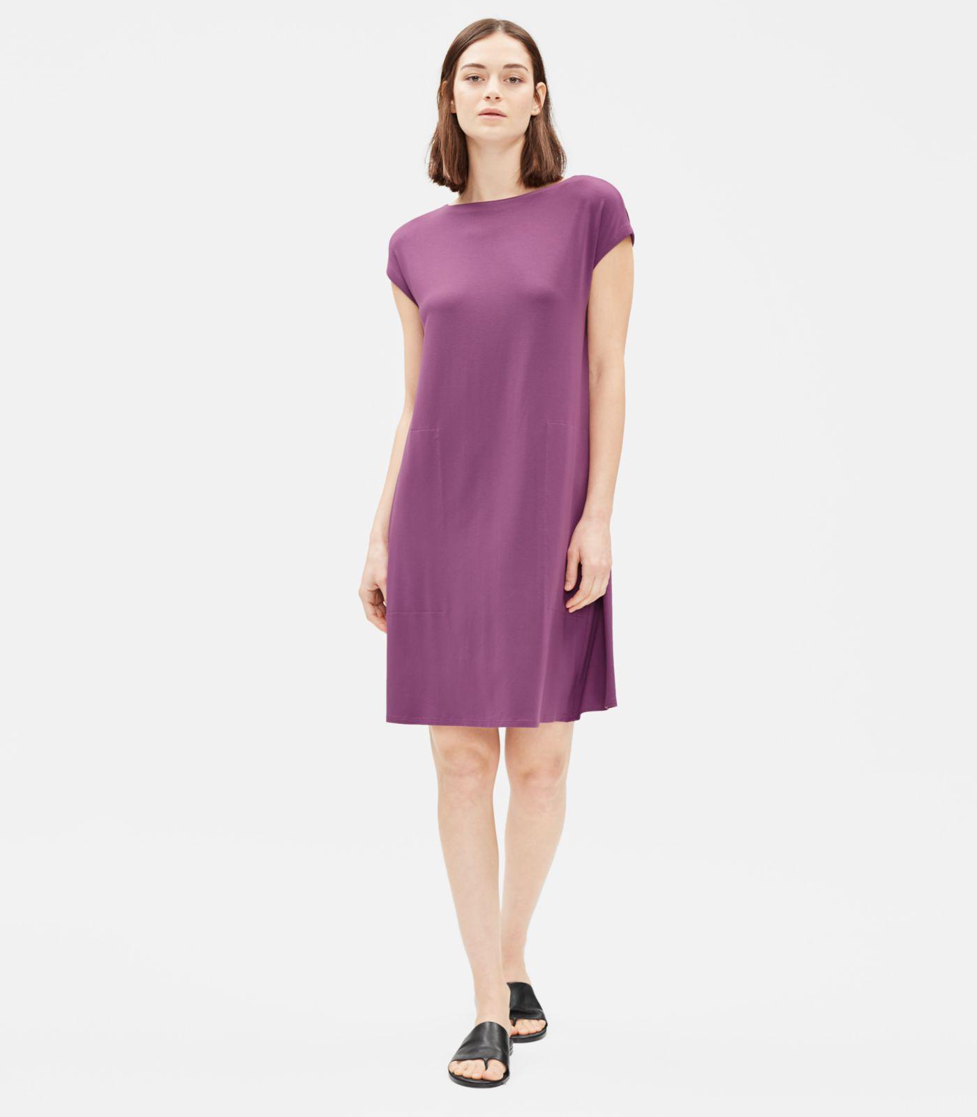 f0b3bf91edb5b9 Lyst - Eileen Fisher Viscose Jersey Dress With Back Twist in Purple